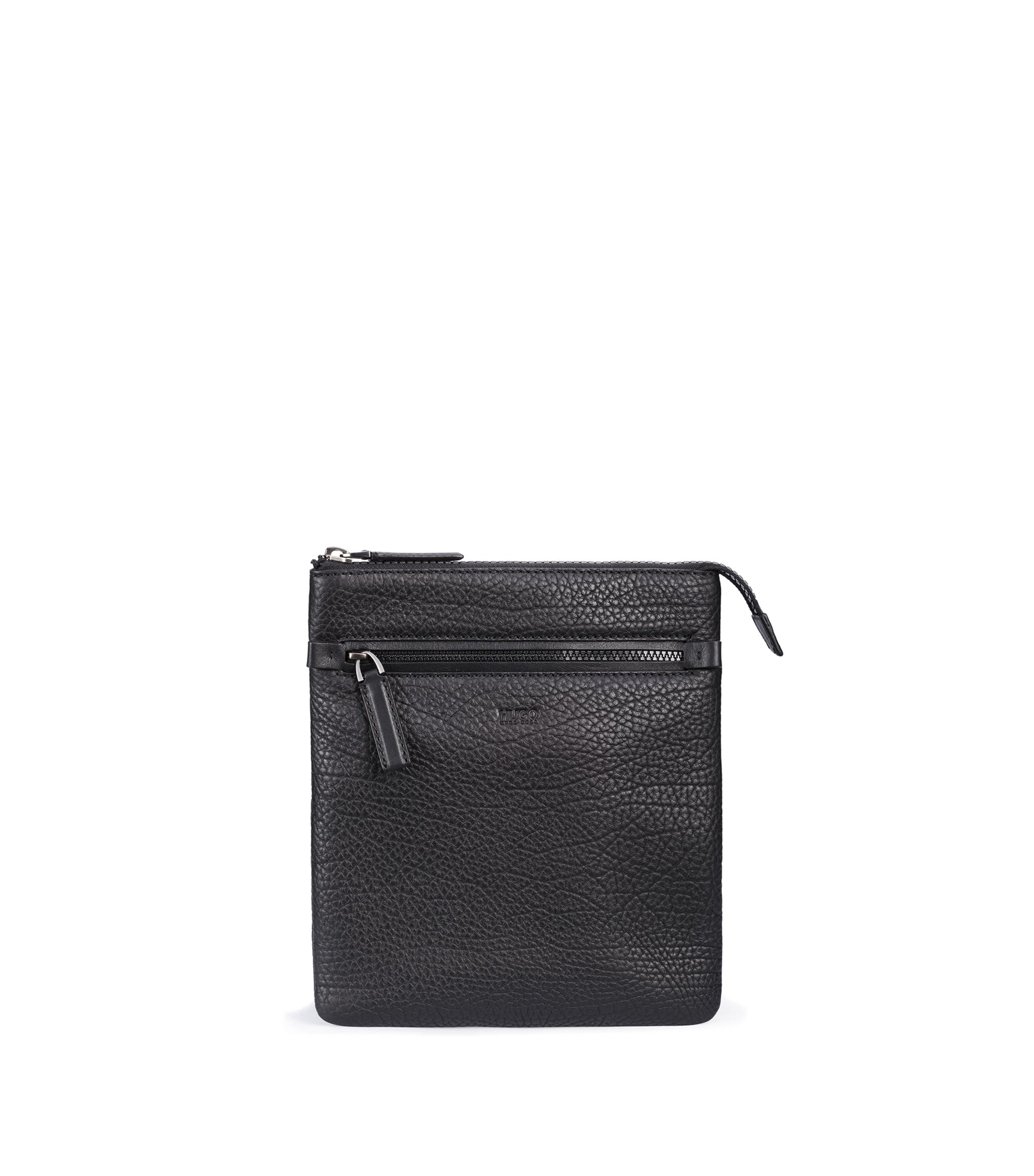 Zipped envelope bag in buffalo-embossed Italian leather, Noir