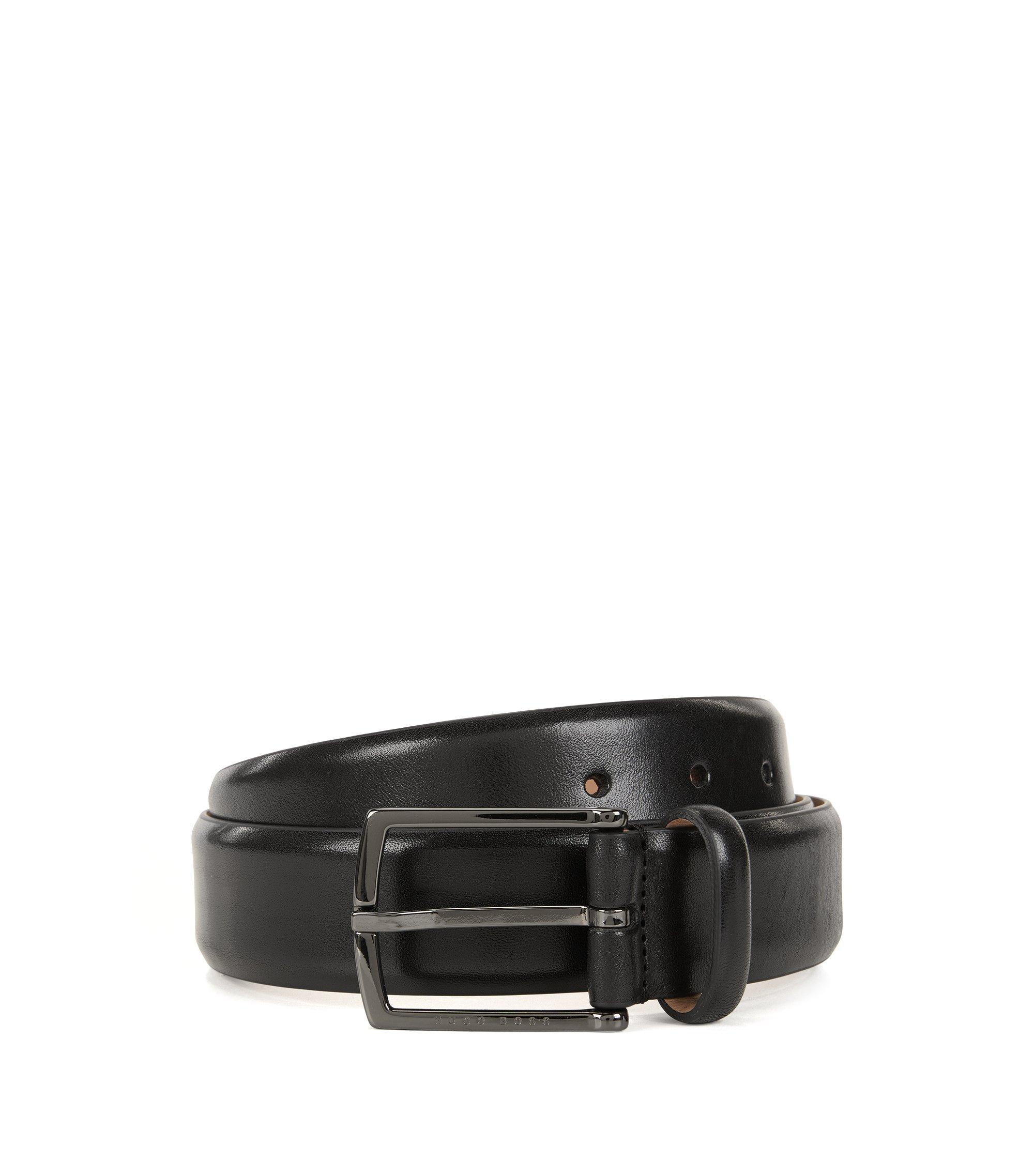 Gürtel aus pflanzlich gegerbtem Leder mit Rückseite aus Nubukleder, Schwarz