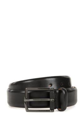 Nubuck-lined belt in vegetable-tanned leather, Black