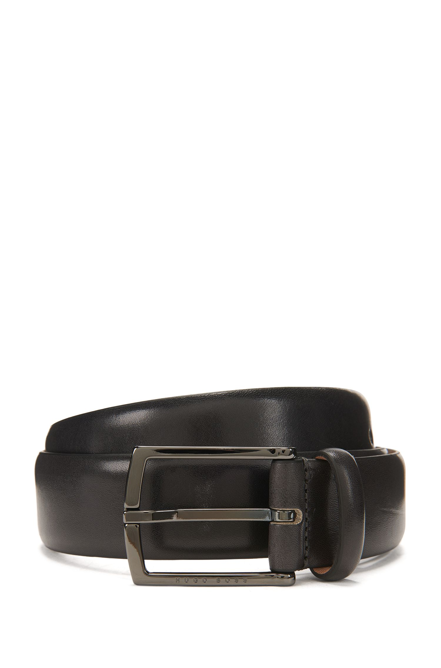 Nubuck-lined belt in vegetable-tanned leather