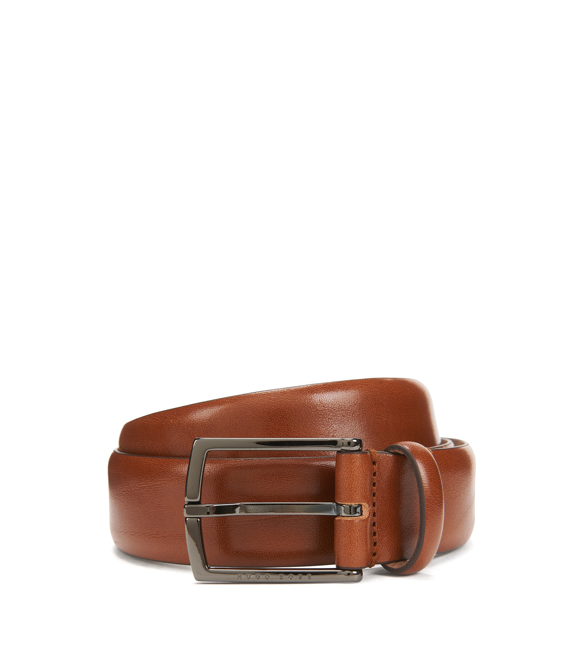 Nubuck-lined belt in vegetable-tanned leather, Brown