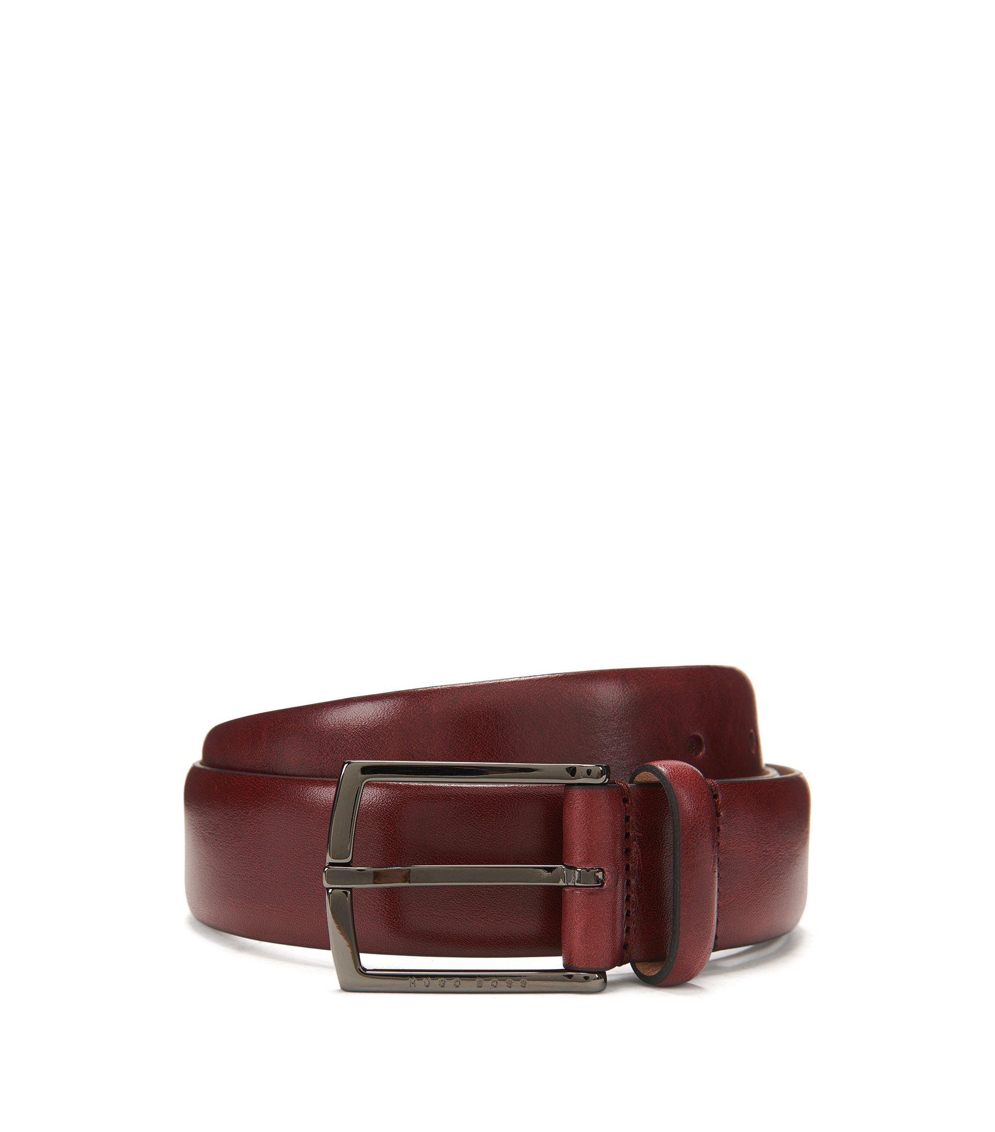 Cinturón con forro de nobuk en piel de curtido vegetal, Rojo