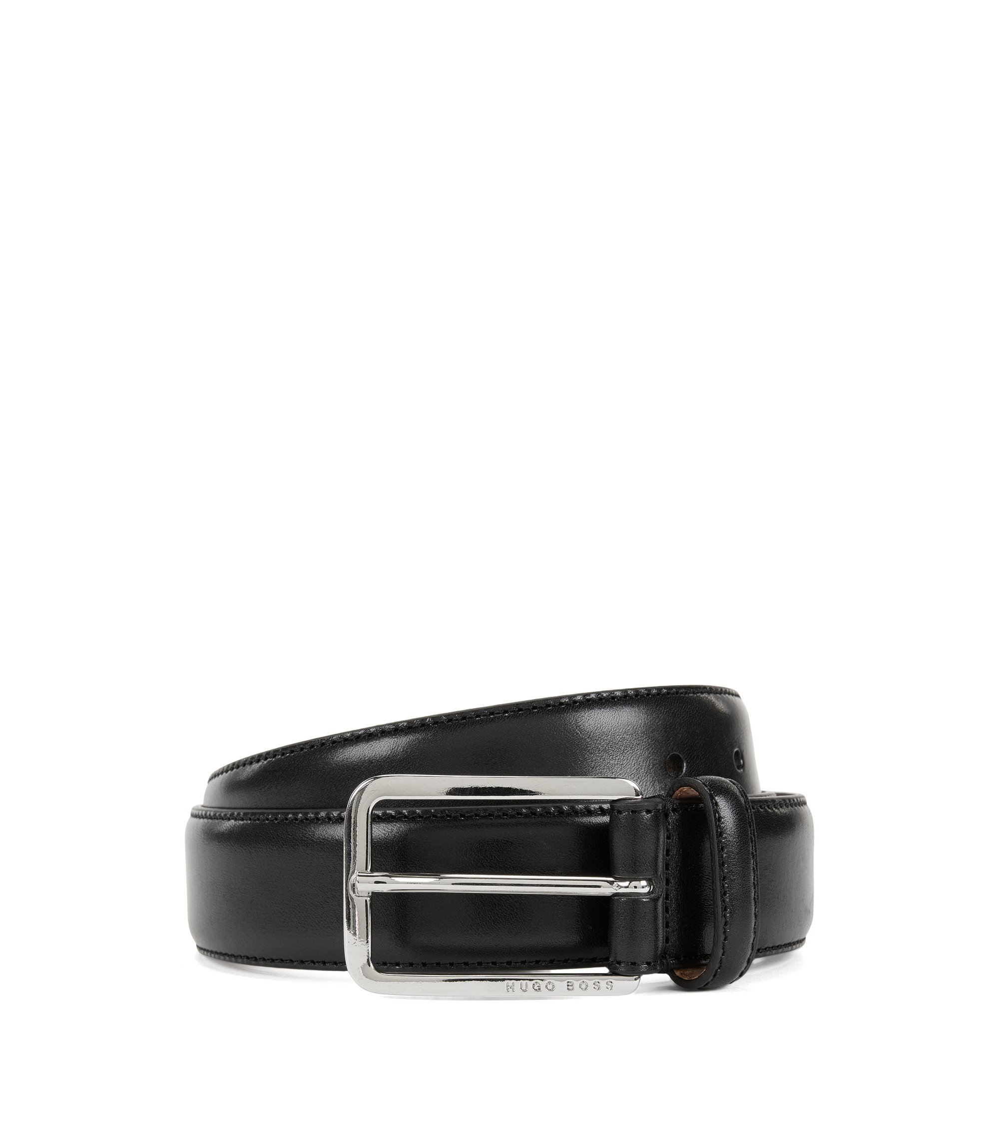 Belt in vegetable-tanned leather, Black