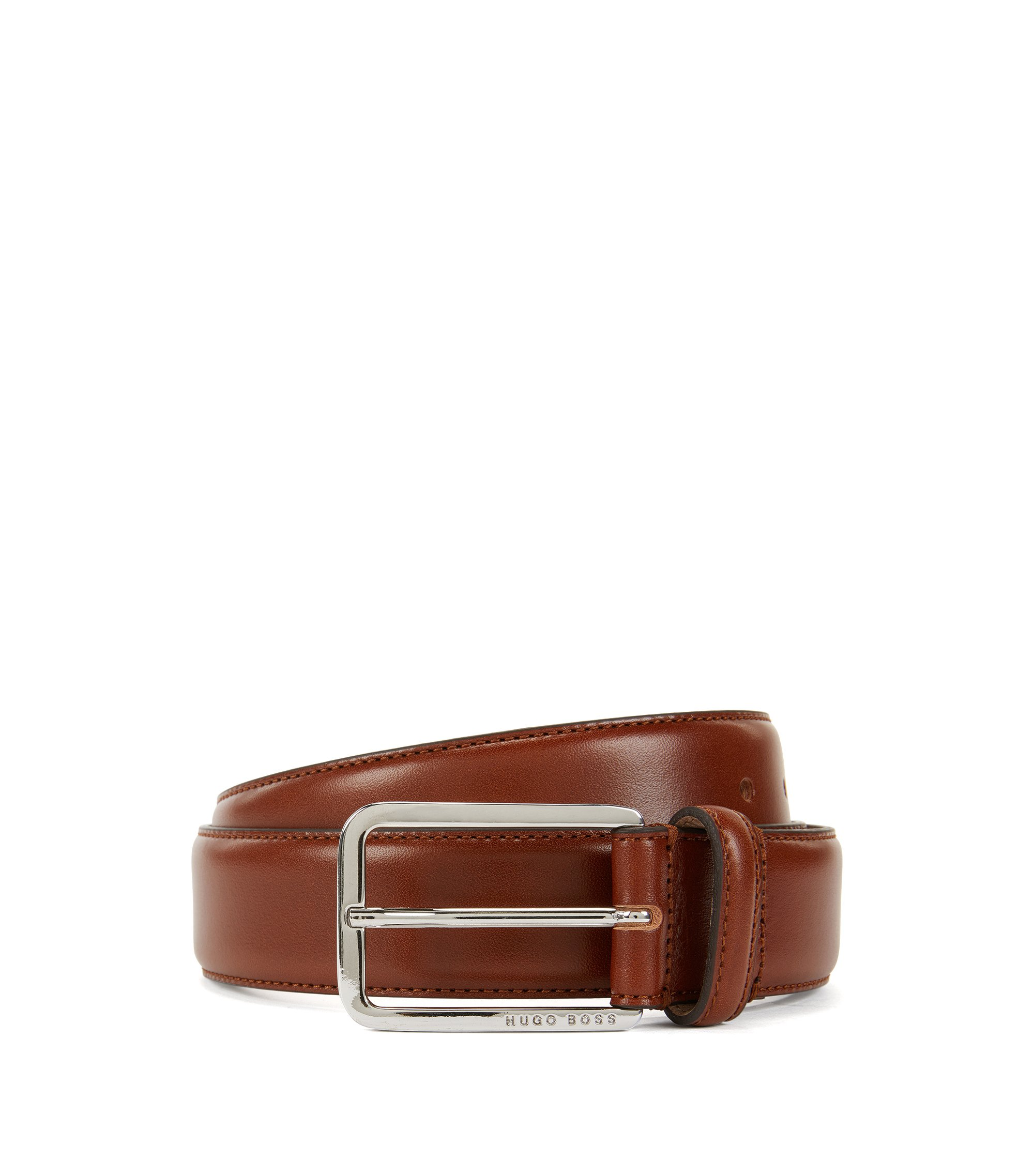 Belt in vegetable-tanned leather, Brown