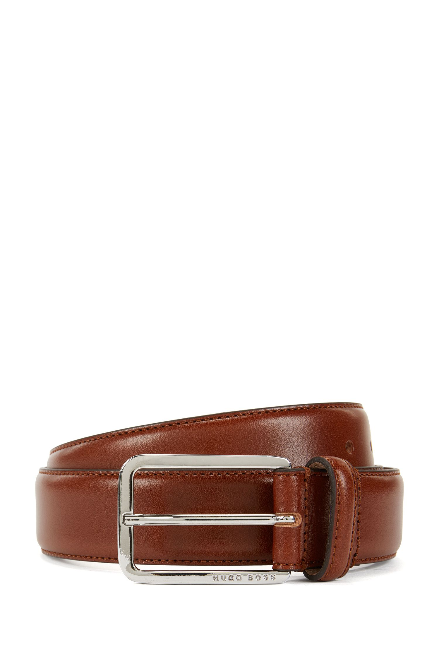 Belt in vegetable-tanned leather