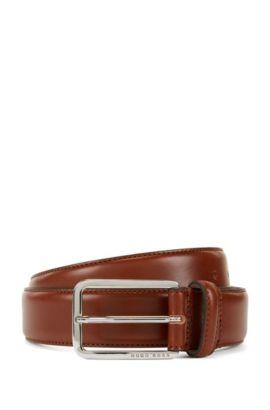 Cinturón en piel de curtido vegetal, Marrón