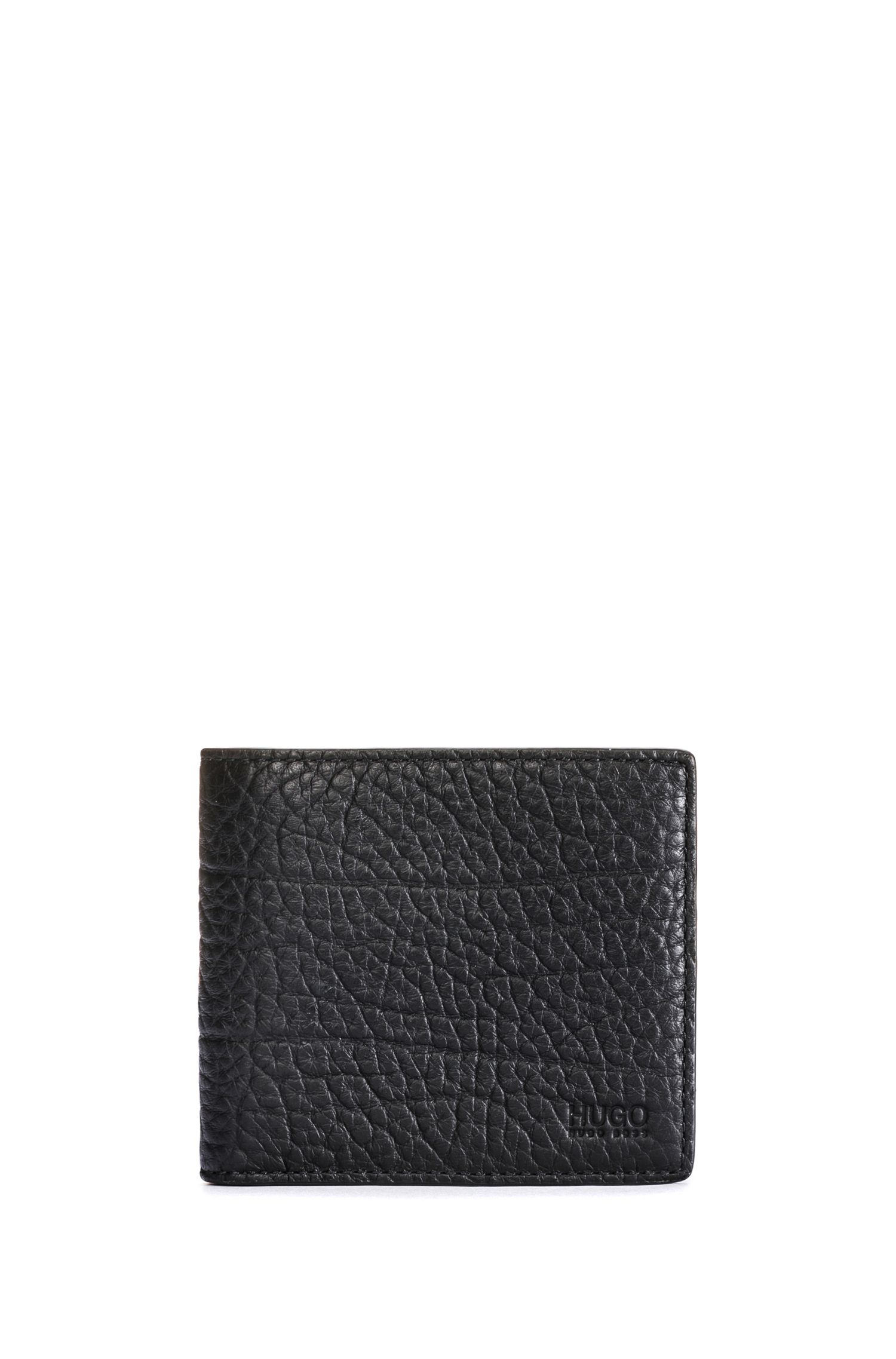 Grained leather bifold wallet with eight card slots
