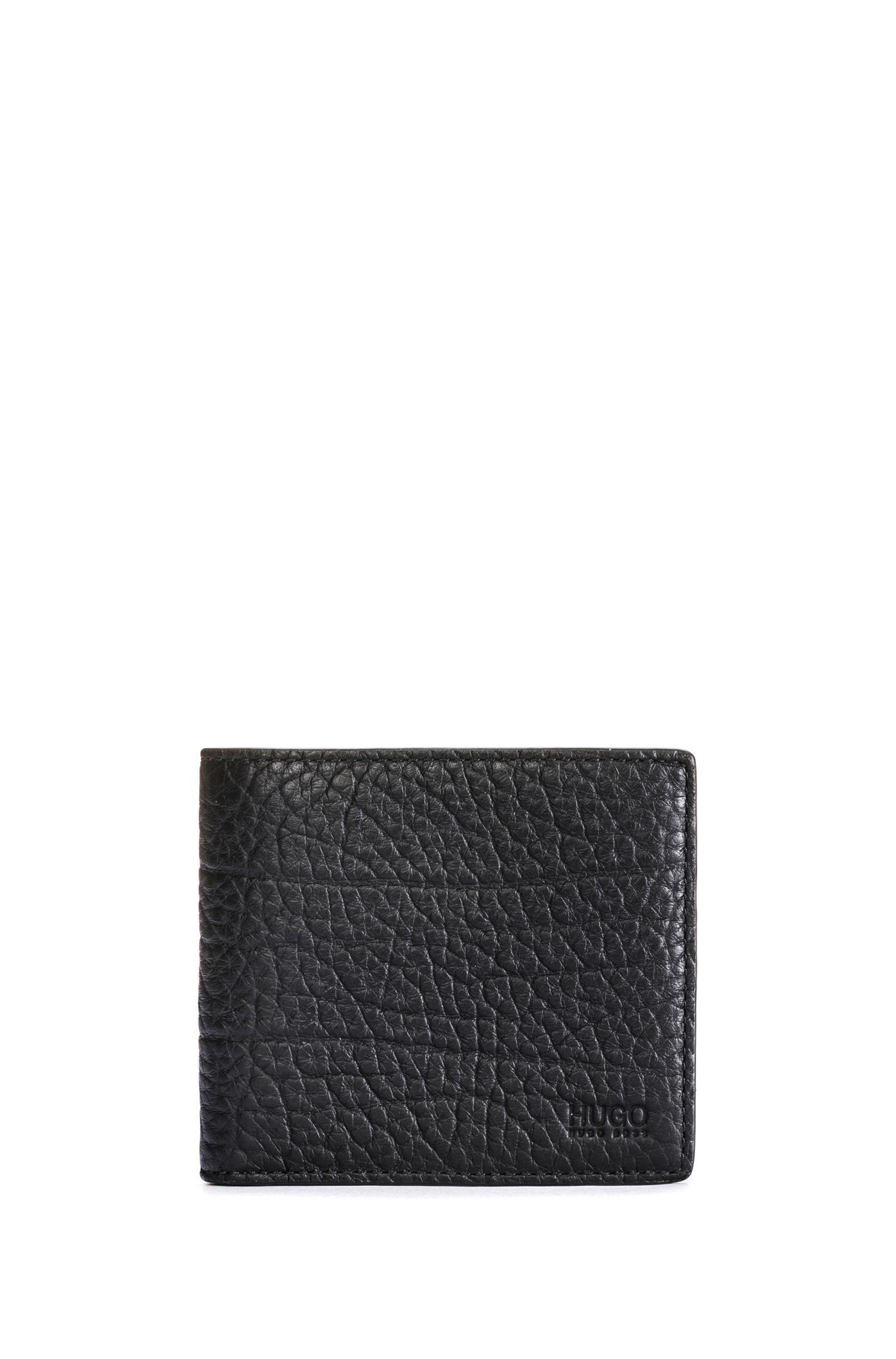 Openklapbare portemonnee van generfd rundleer met acht vakjes voor pasjes