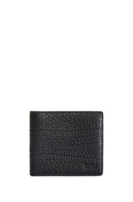 Grained leather bifold wallet with eight card slots, Nero