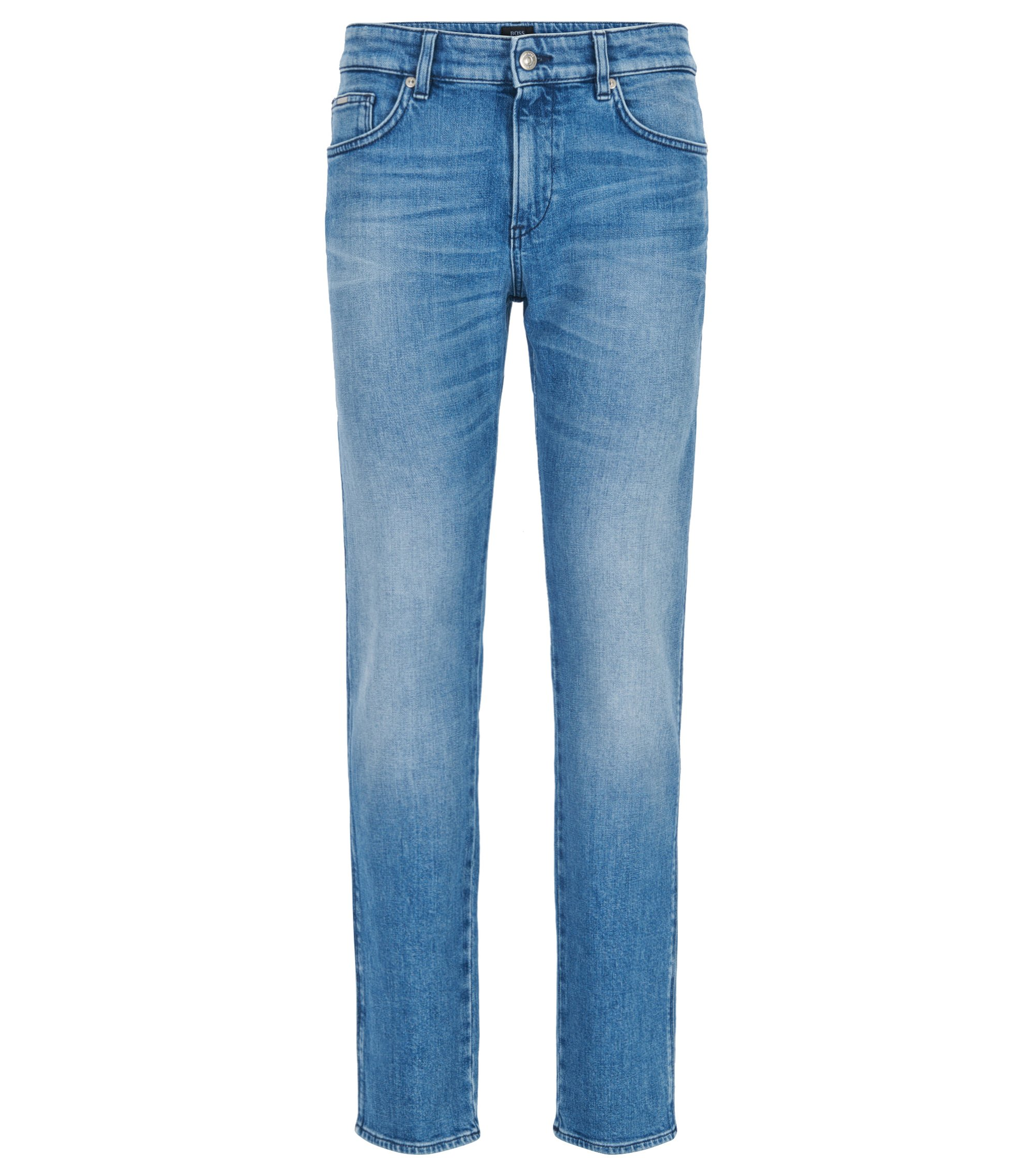 Slim-fit jeans in washed stretch denim, Turquoise