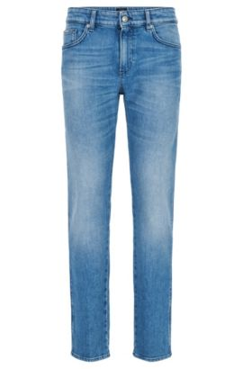 Slim-fit jeans van gewassen stretchdenim, Turkoois