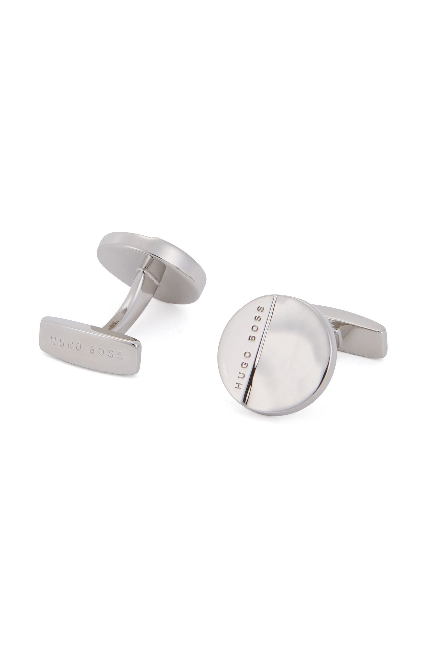 Round hand-polished hammered metal cufflinks with logo