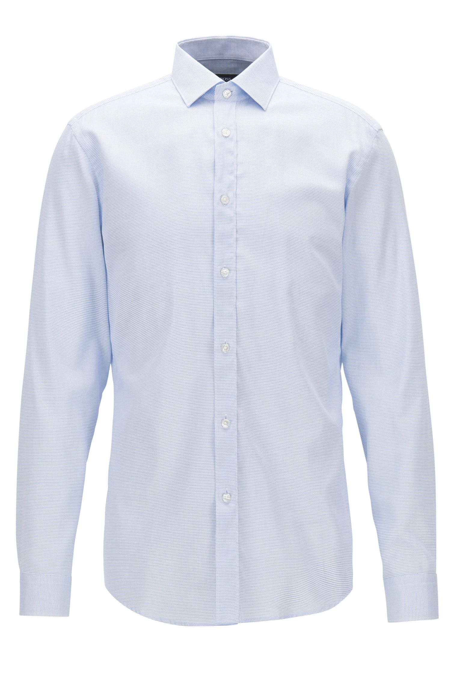 Cotton micro-structure shirt in a slim fit