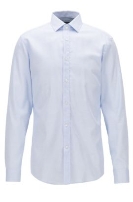 Camisa slim fit de algodón con microtextura, Celeste