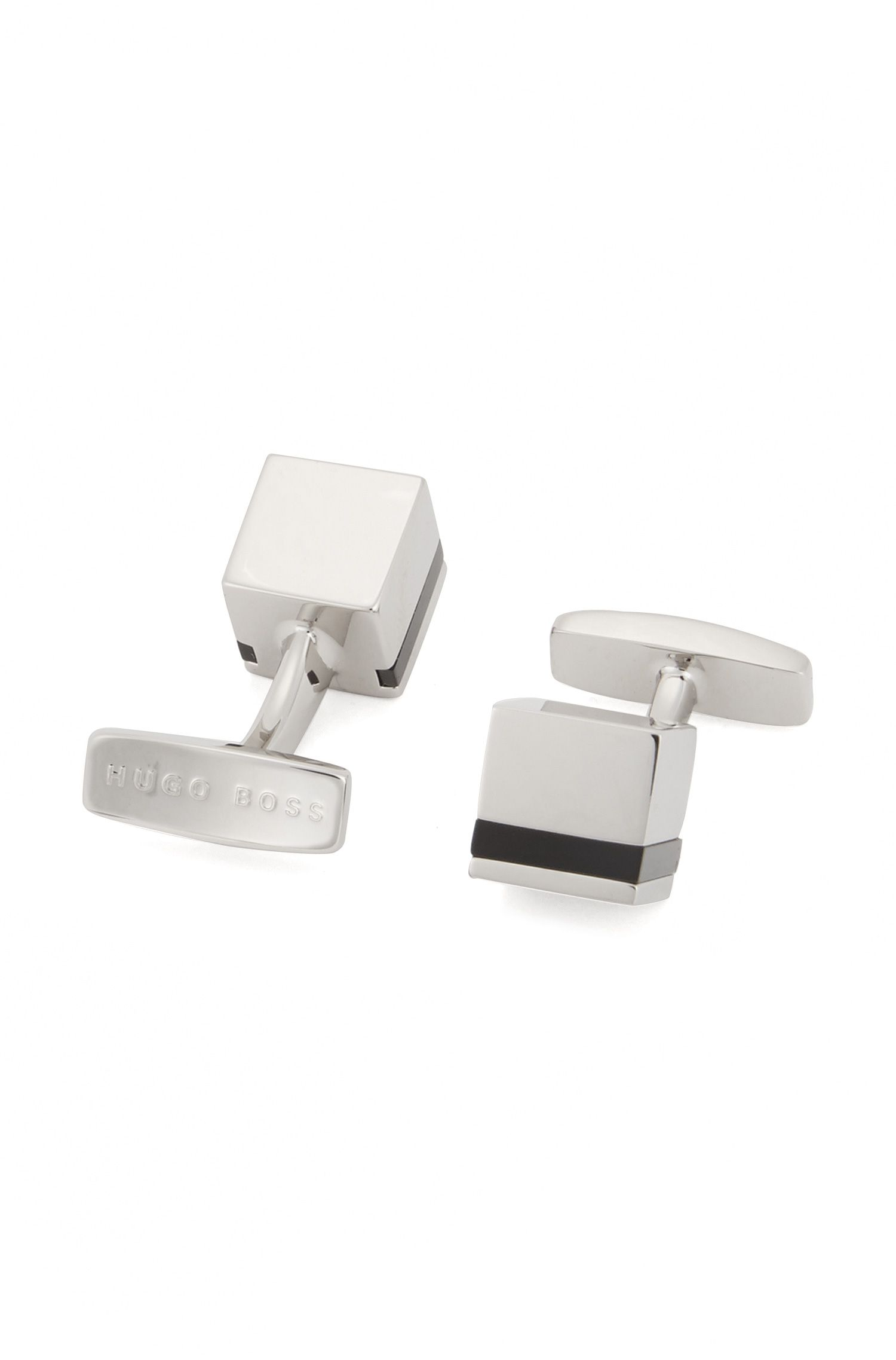 Cube-shaped cufflinks with enamel stripe
