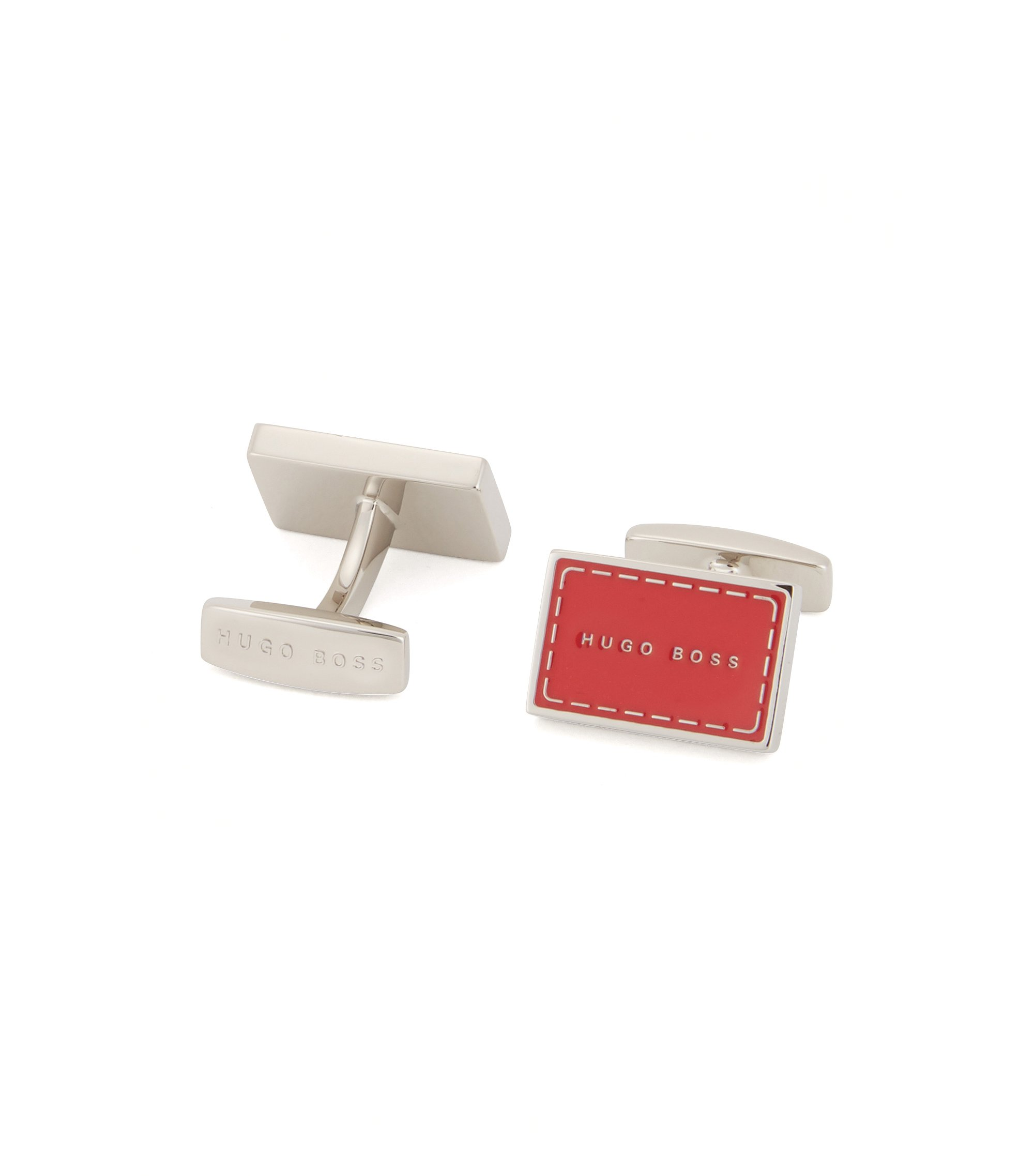 Logo cufflinks in hand-polished brass, Red
