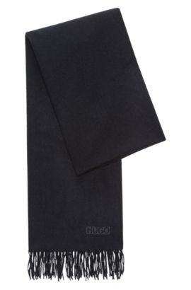 Fringed scarf in brushed wool , Black
