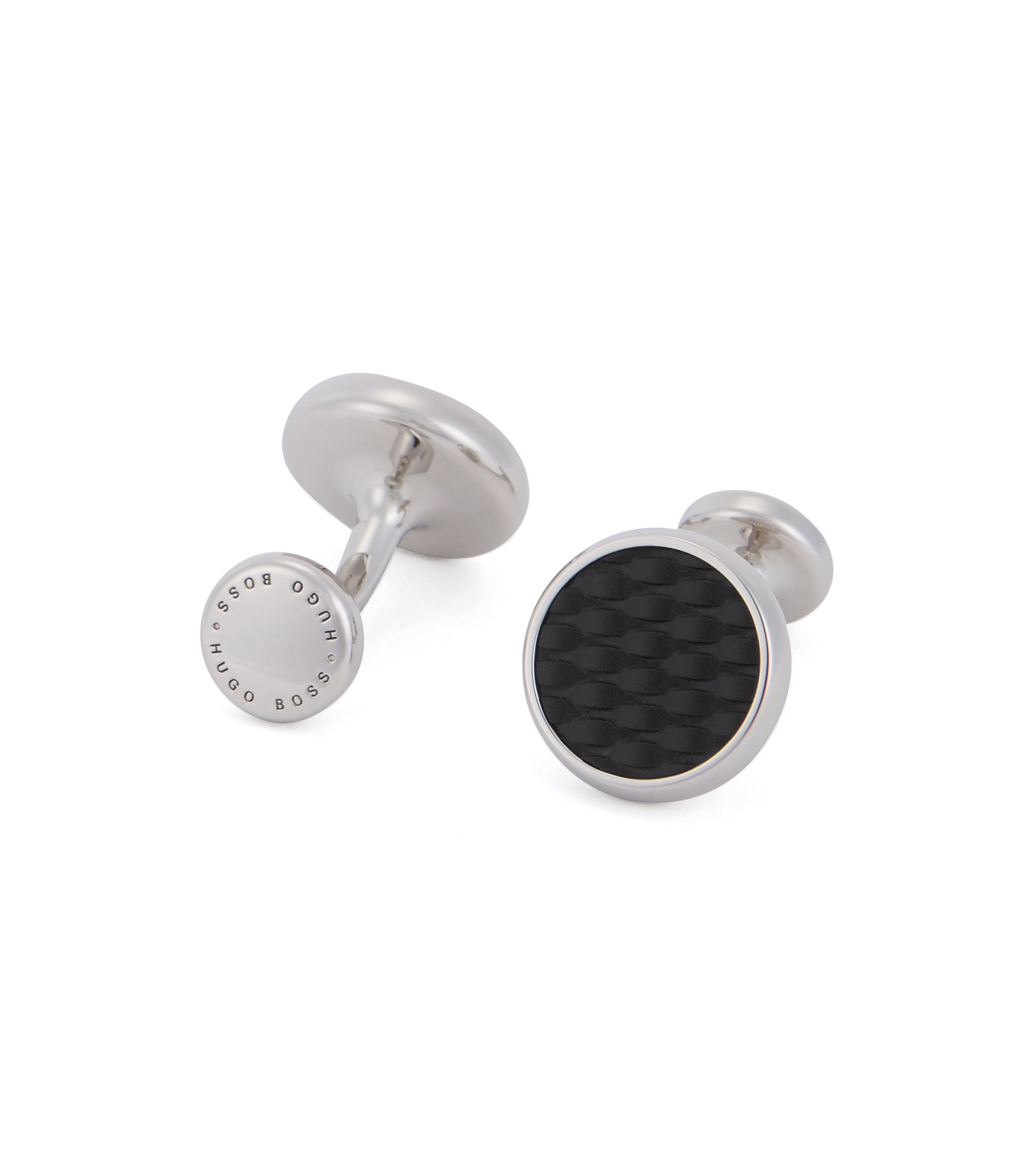 Hand-polished cufflinks with textured enamel inserts, Black