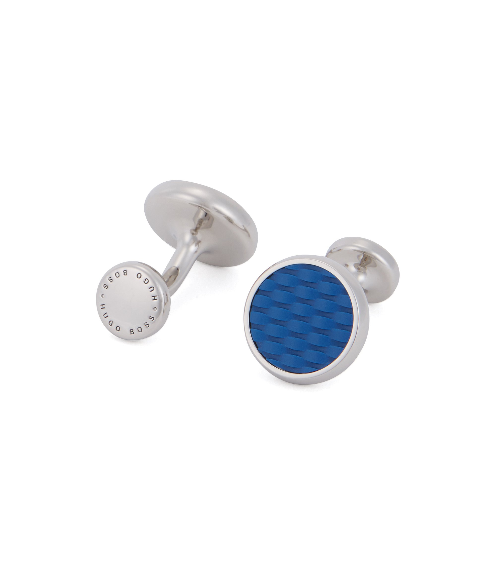 Hand-polished cufflinks with textured enamel inserts, Blue