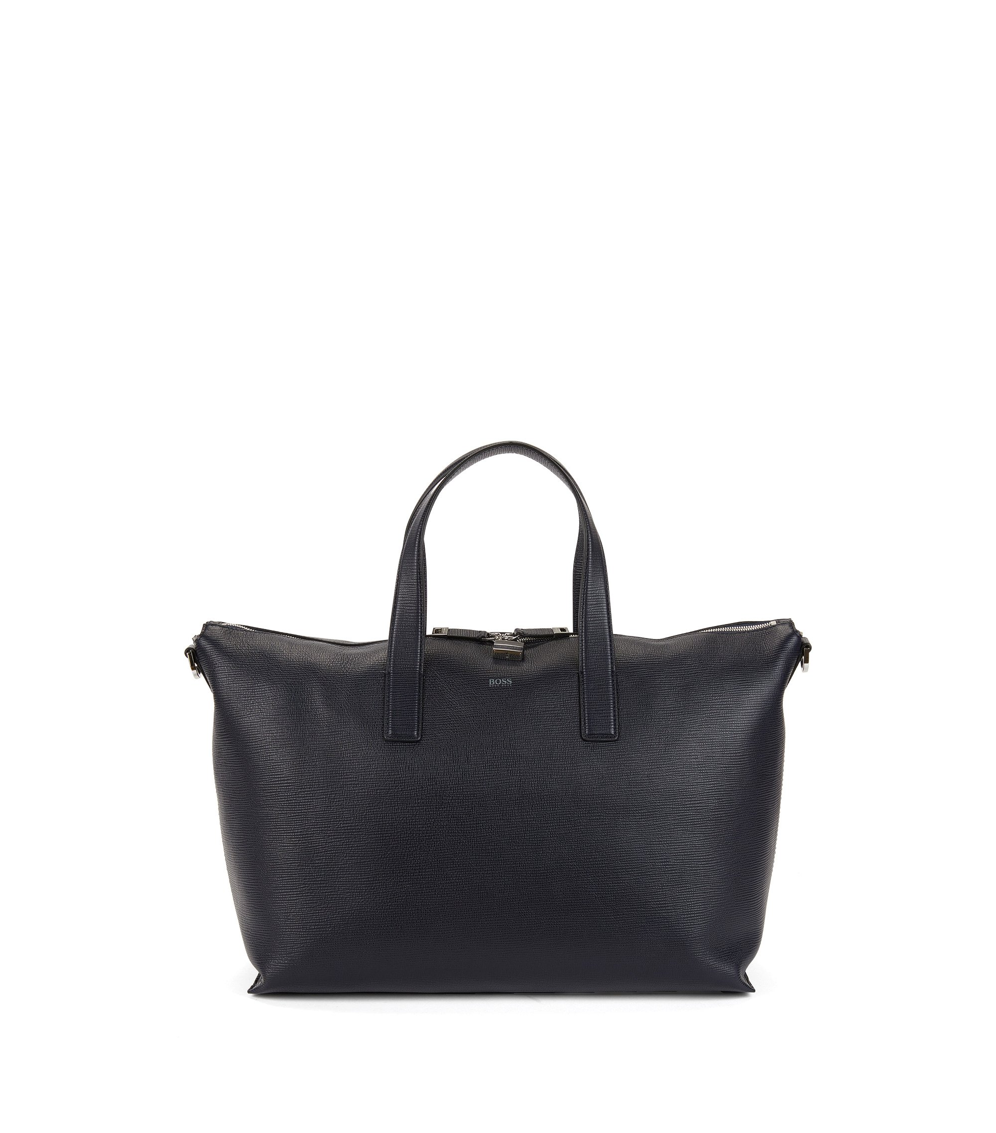 Holdall in printed leather with two-way zip, Dark Blue