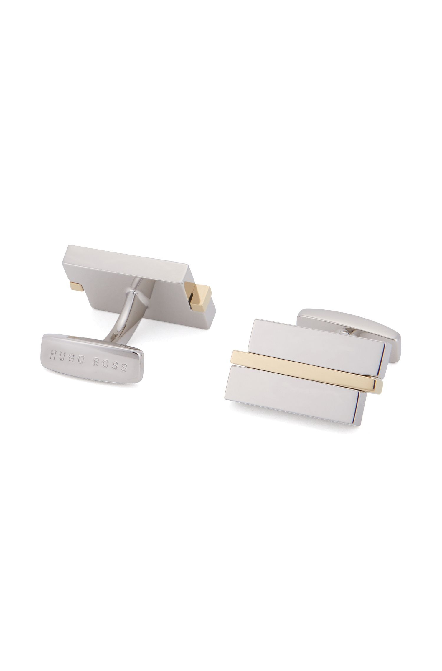 Rectangle cufflinks with horizontal stripe