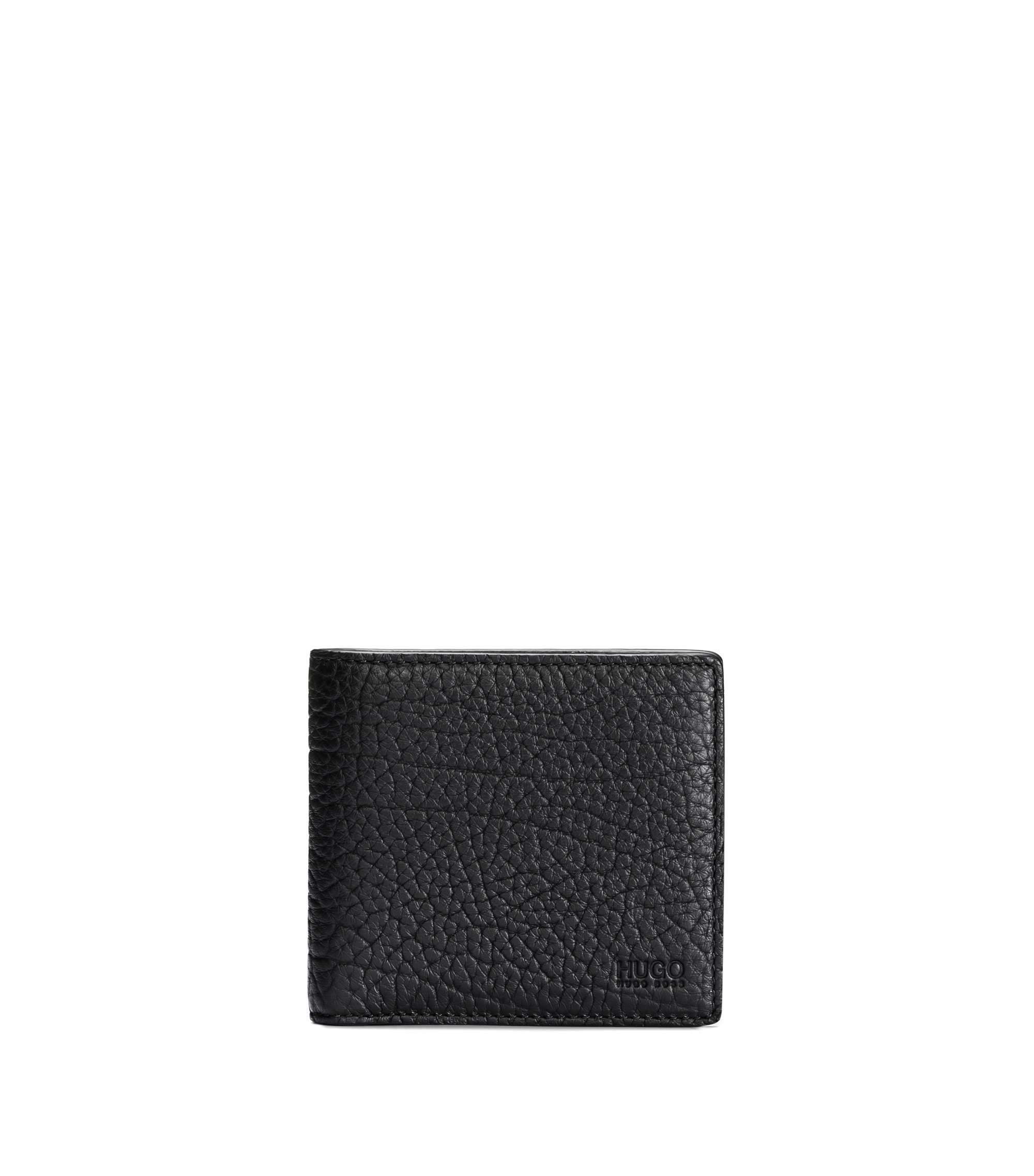 Grained leather billfold wallet with coin pocket, Black
