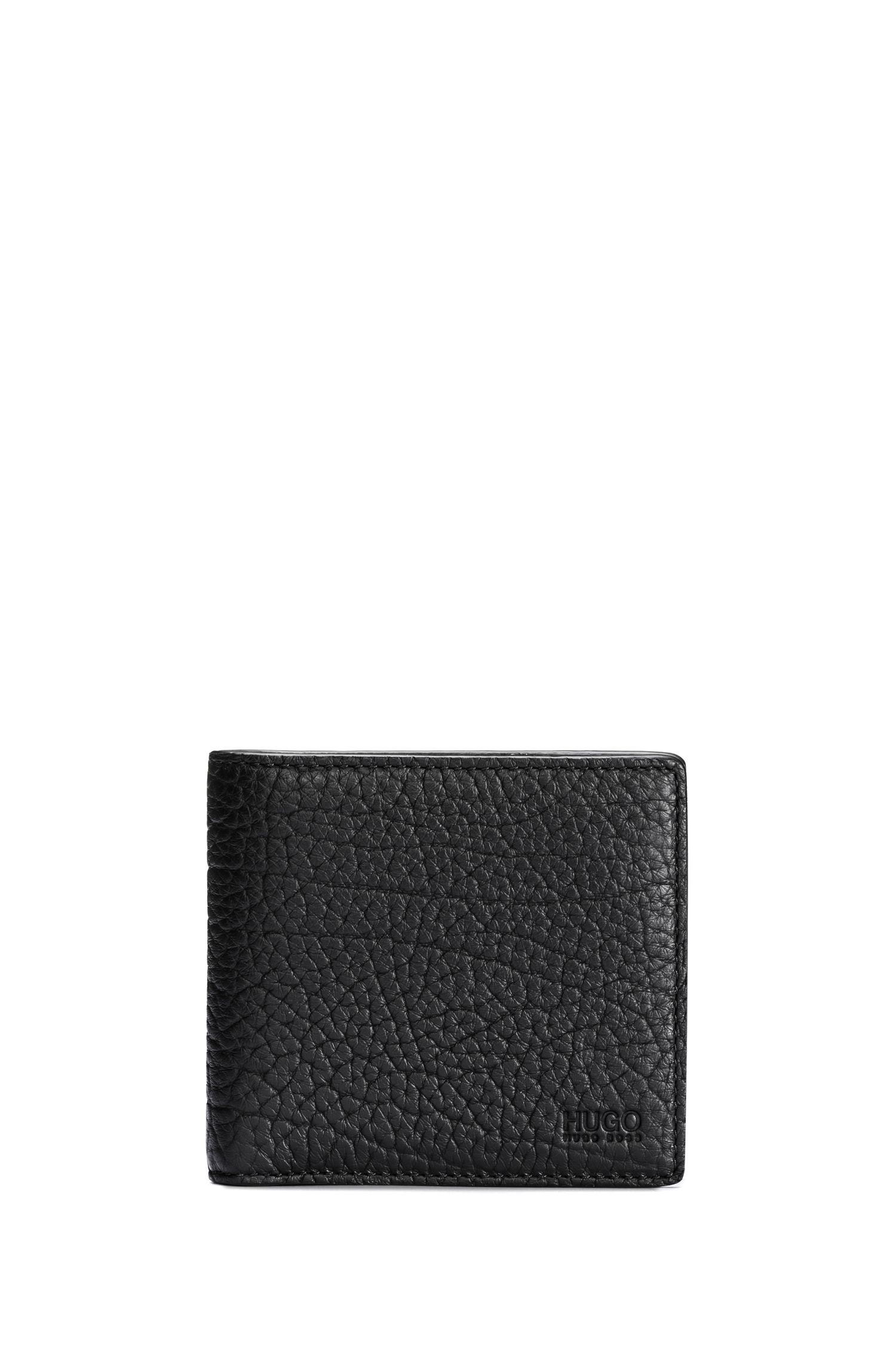 Grained leather billfold wallet with coin pocket