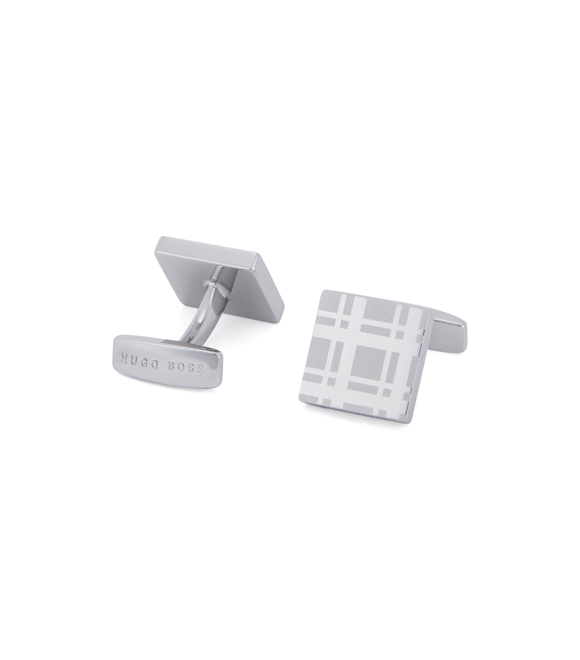 Square cufflinks in hand-polished brass, Silver