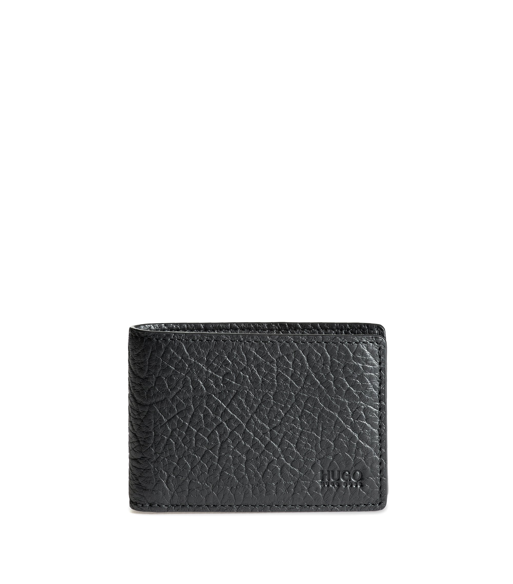 Bifold wallet in buffalo-embossed Italian leather, Black