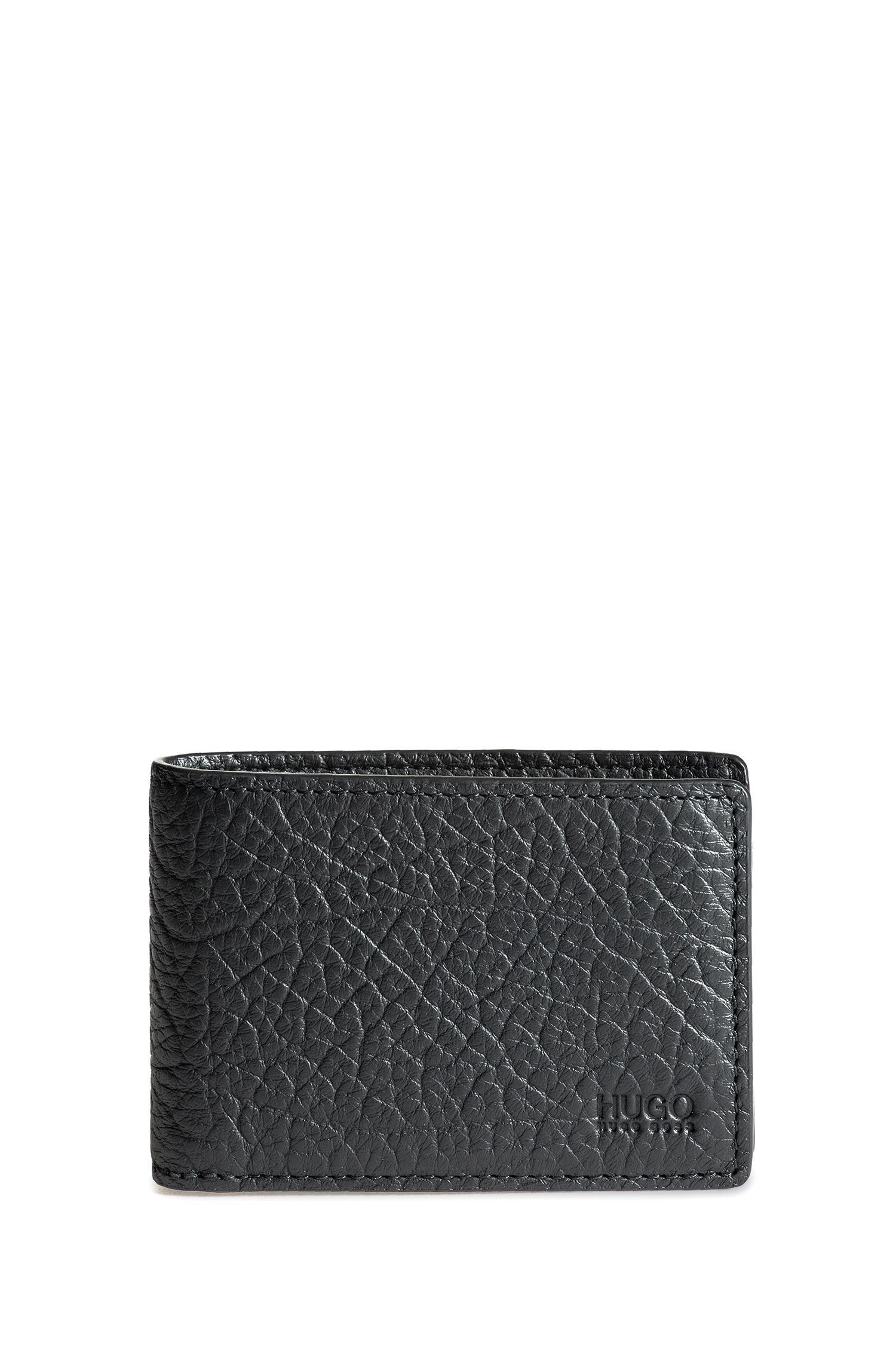 Bifold wallet in buffalo-embossed Italian leather