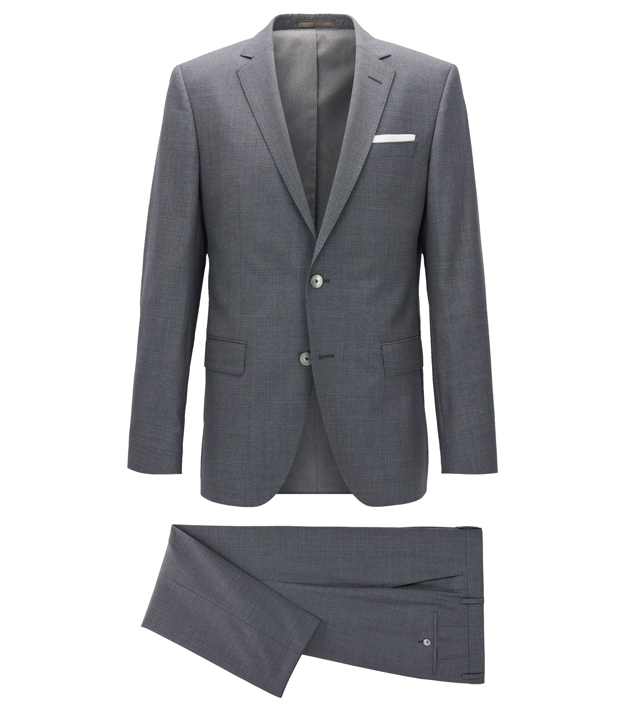 Slim-fit suit in patterned virgin wool, Grey