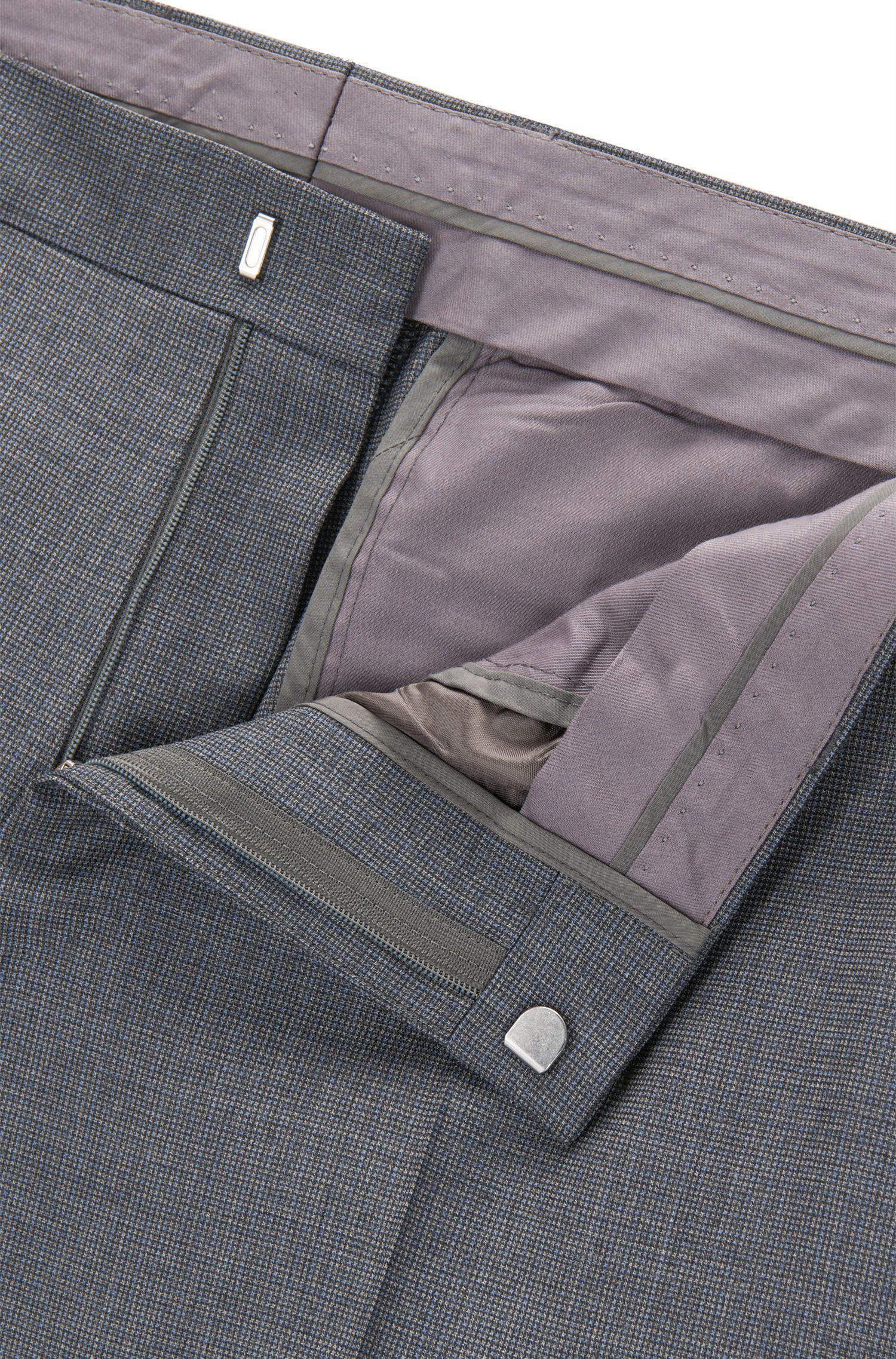 Slim-fit suit in patterned virgin wool