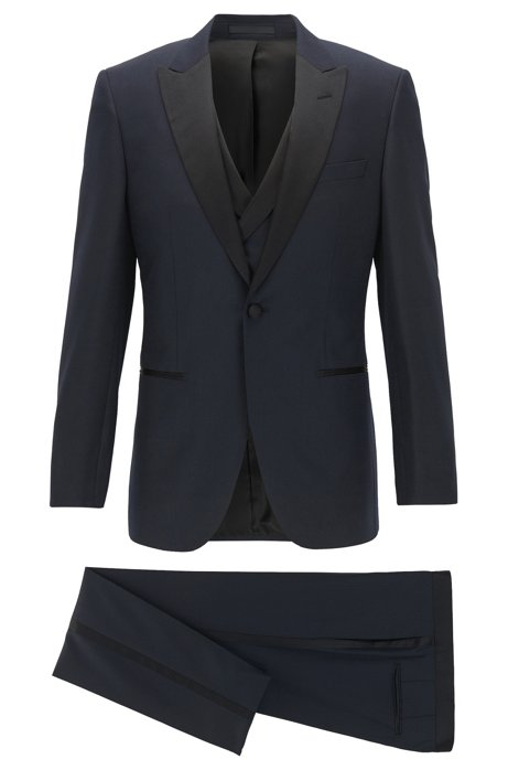 4d8dce98c73c4 BOSS - Slim-fit three-piece tuxedo in virgin wool with silk trims