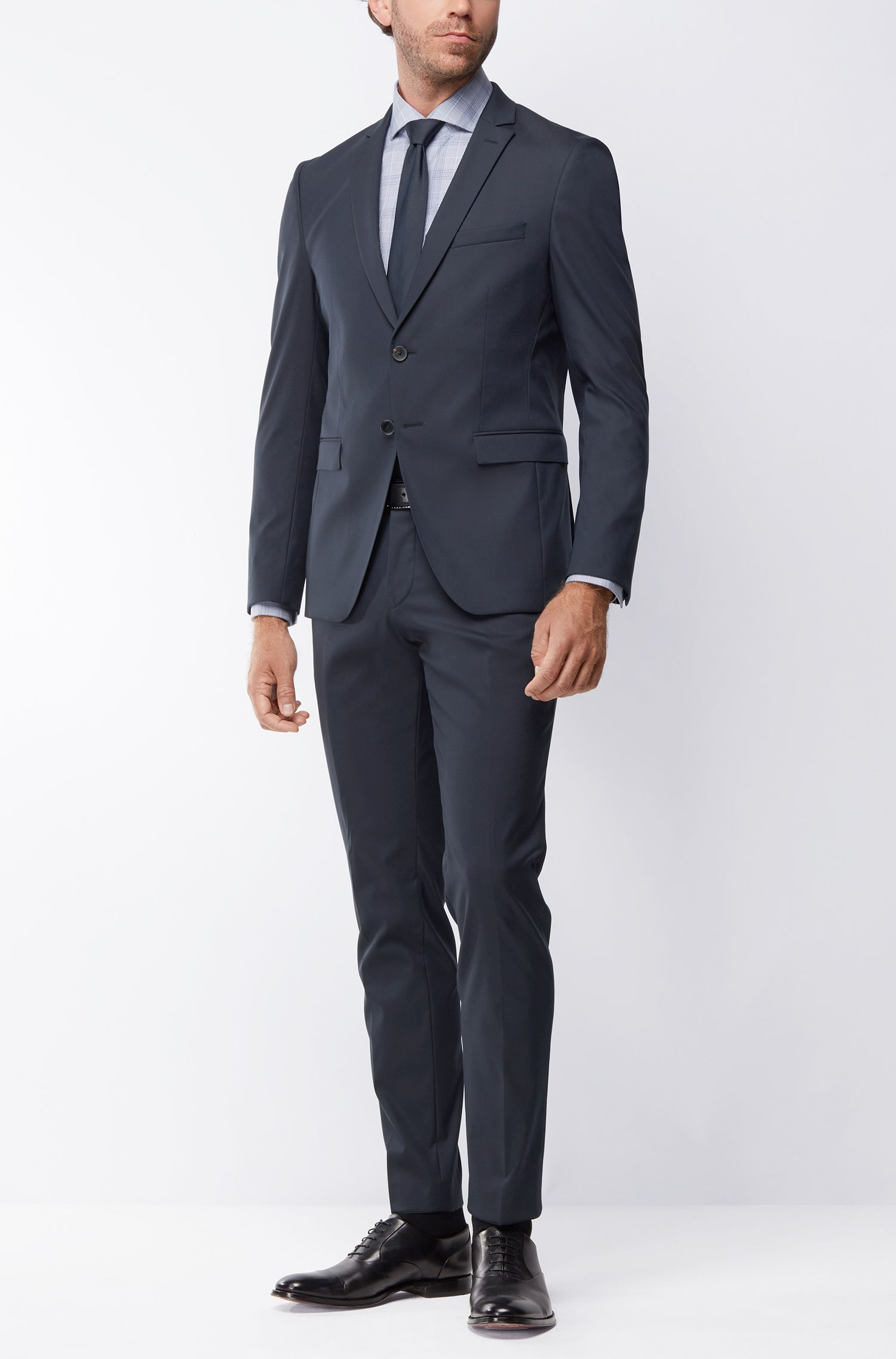 Extra-slim-fit suit in a technical cotton blend