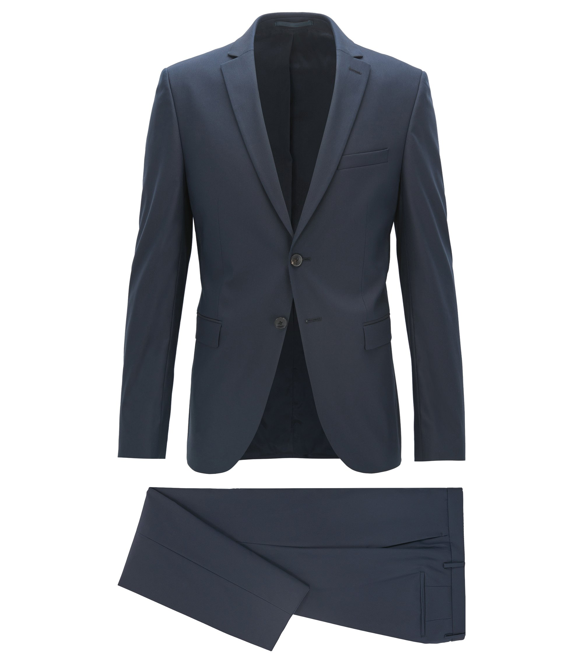 Extra-slim-fit suit in a technical cotton blend, Dark Blue