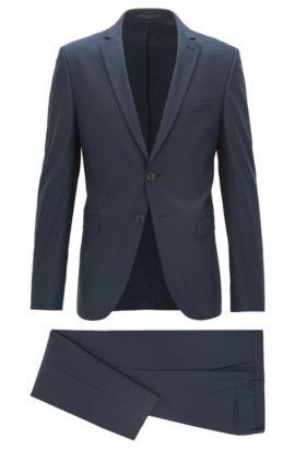 Extra Slim-Fit Anzug aus elastischem Baumwoll-Mix, Dunkelblau