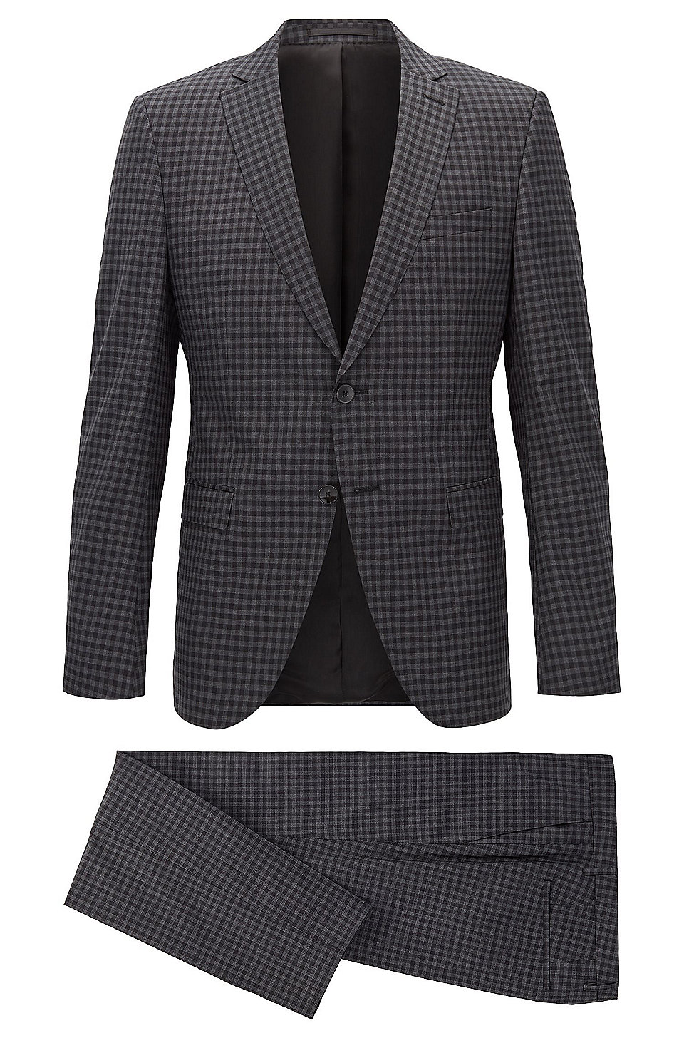 Extra-slim-fit suit in check virgin wool, Patterned