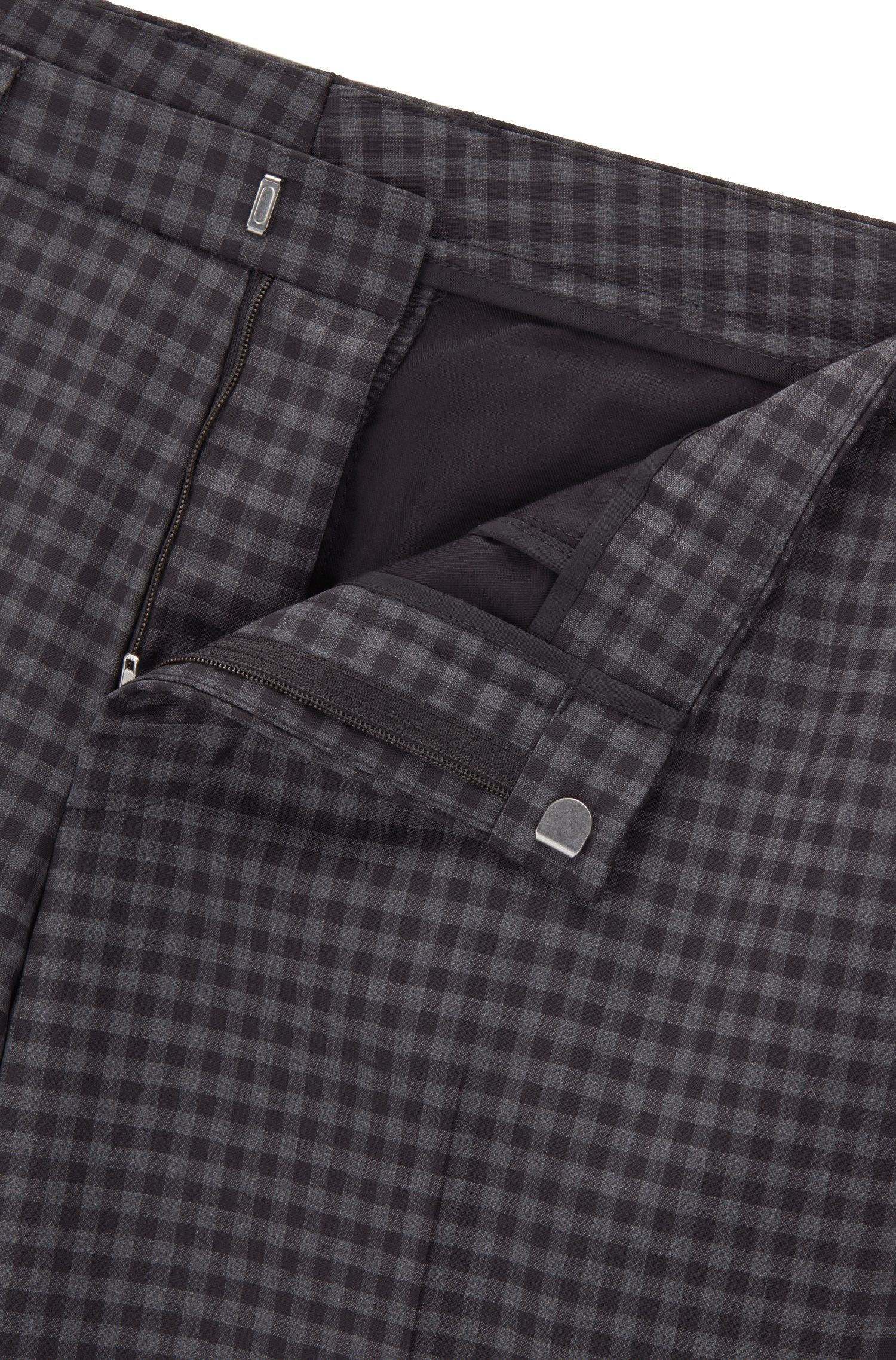Extra-slim-fit suit in check virgin wool