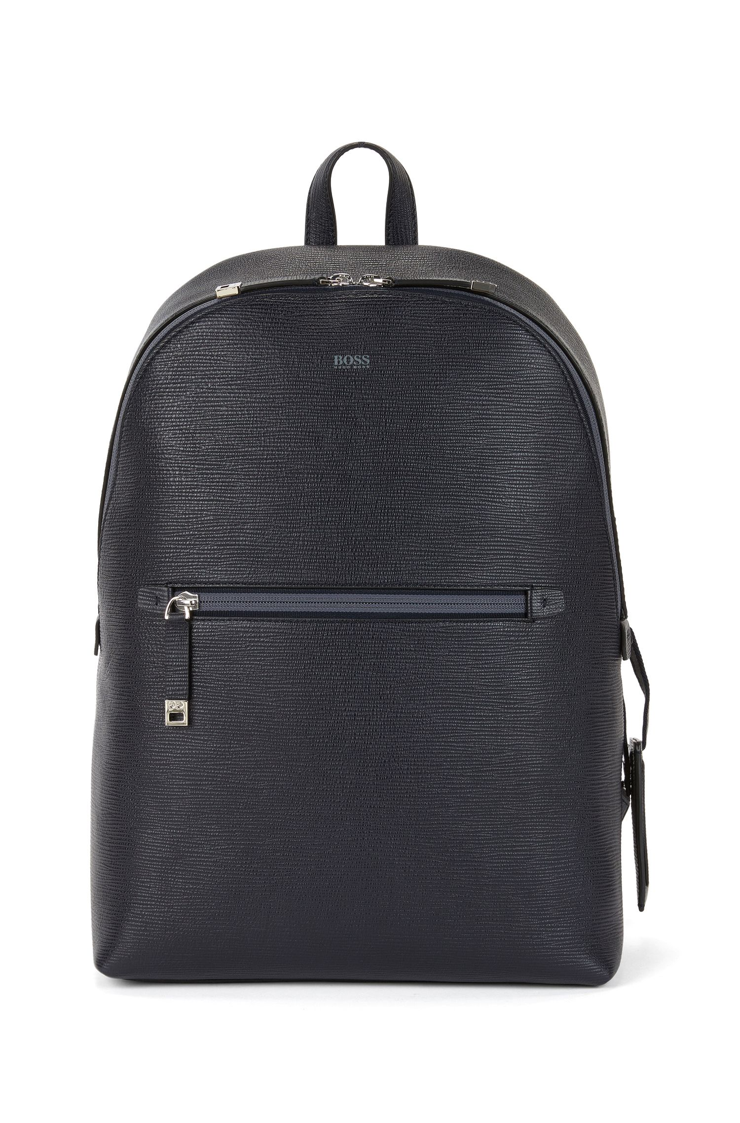 Backpack in printed Italian leather