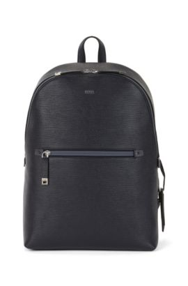 Rucksack aus bedrucktem italienischem Leder, Dunkelblau