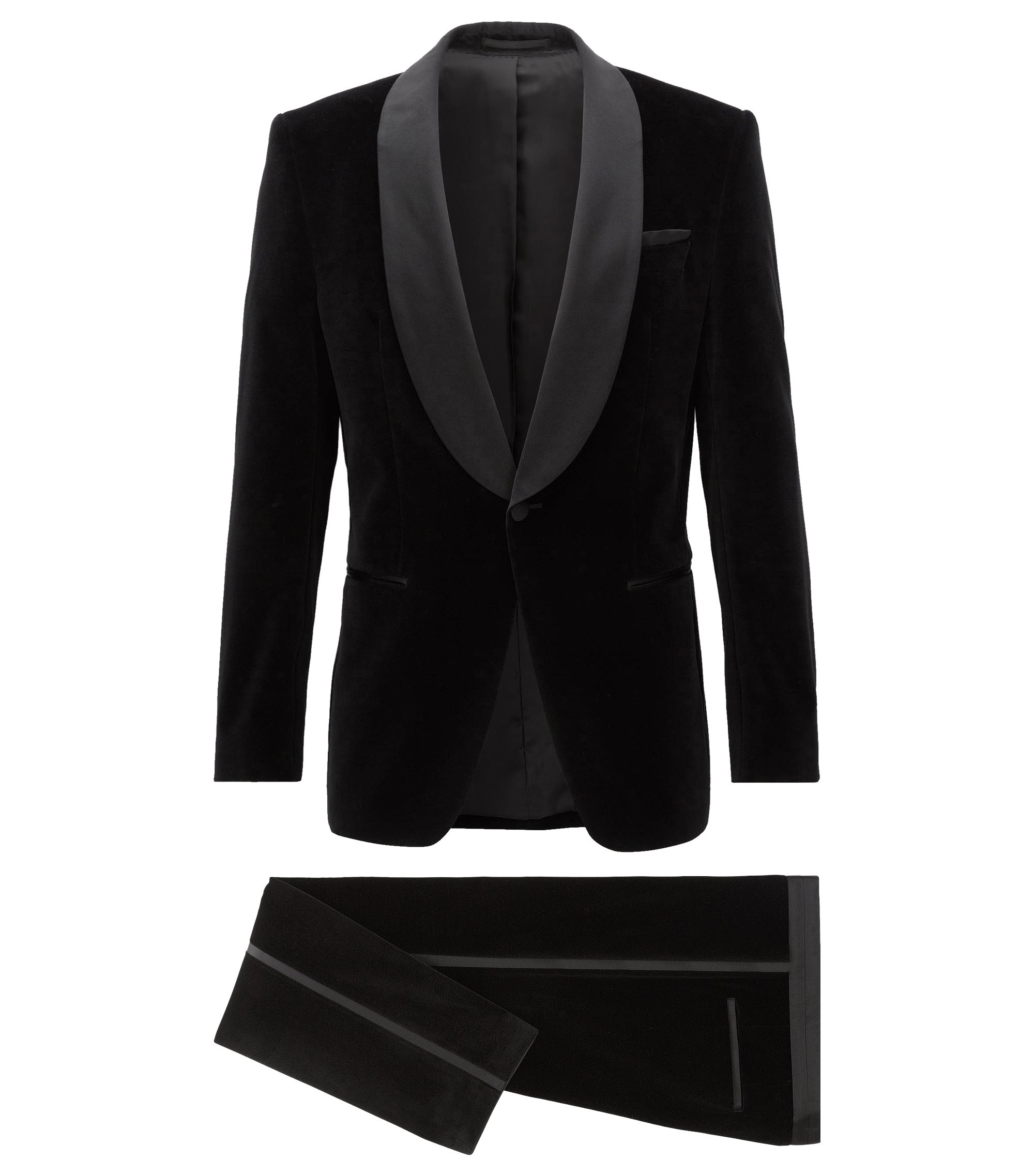Slim-fit tuxedo suit in velvet, Black