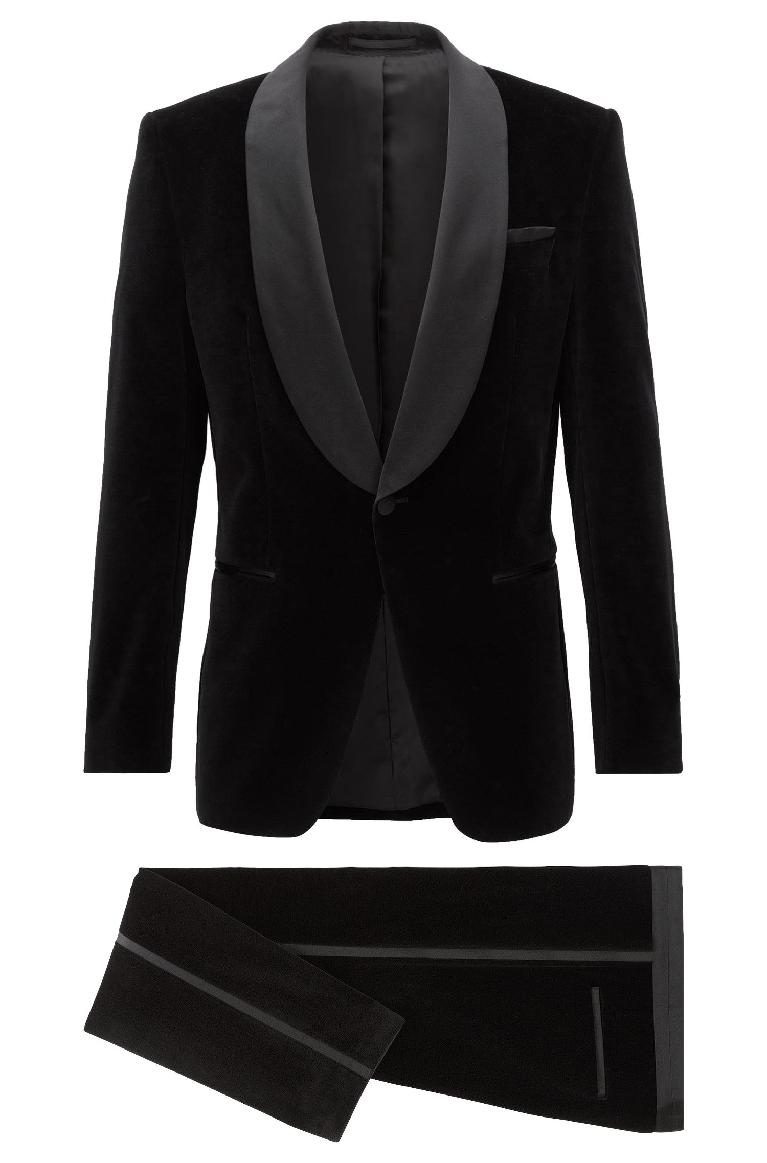 Slim-fit tuxedo suit in velvet