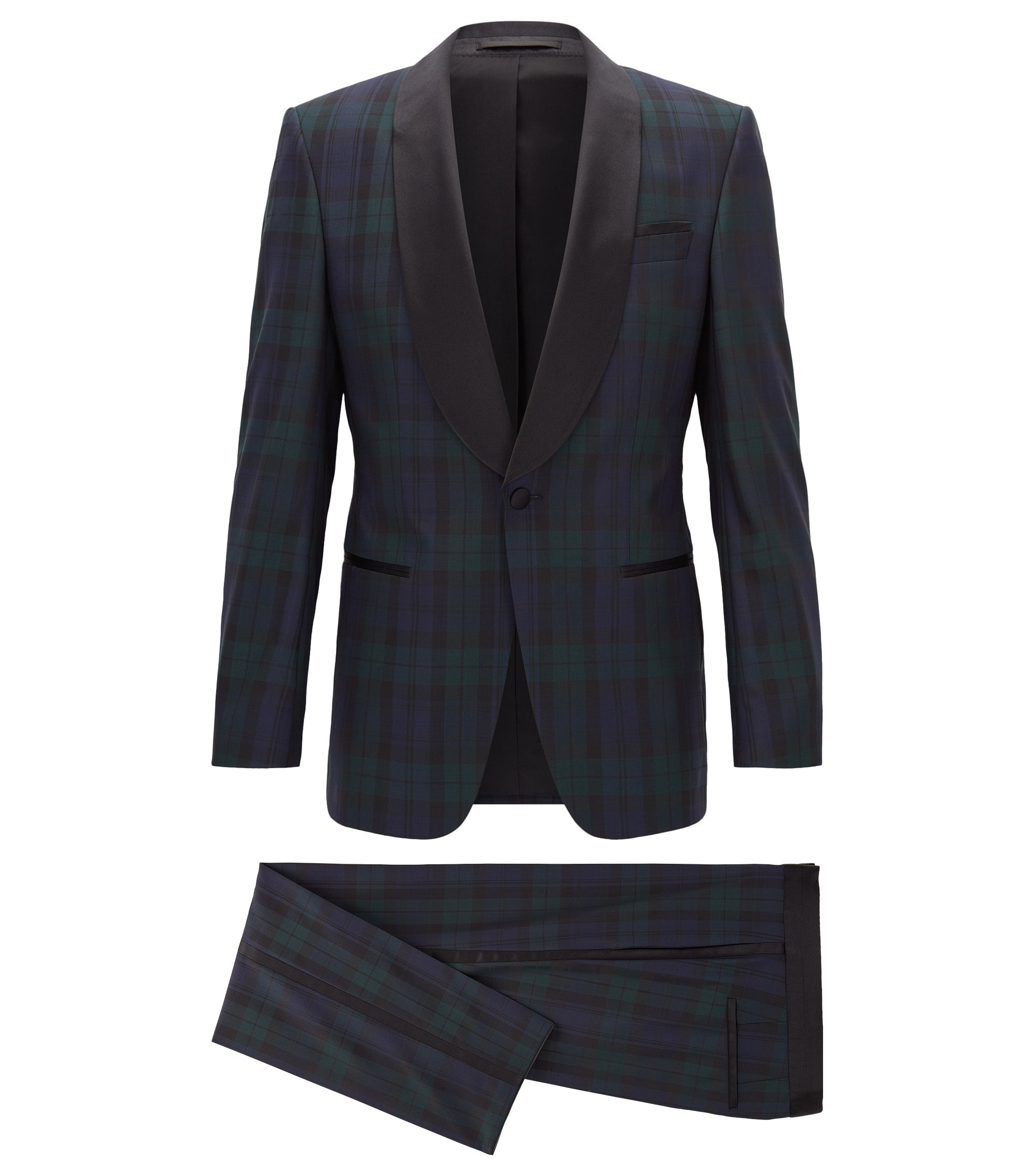 Slim-fit tuxedo suit in virgin wool, Dark Blue