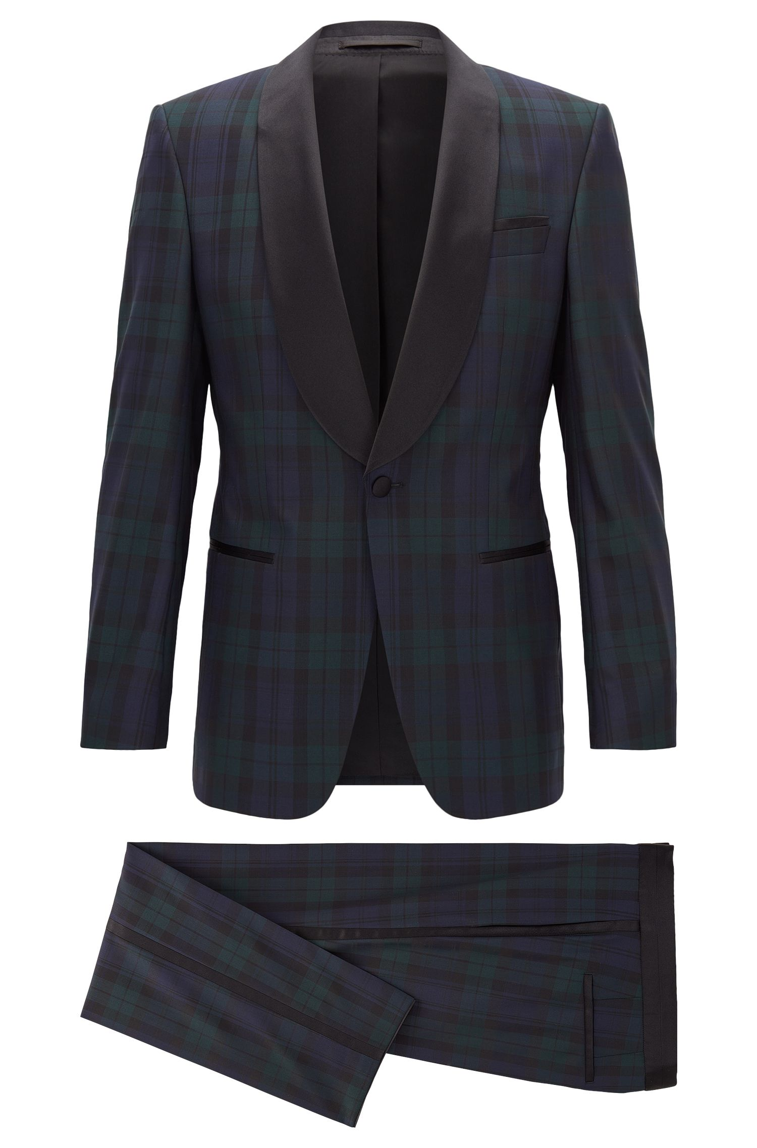 Slim-fit tuxedo suit in virgin wool