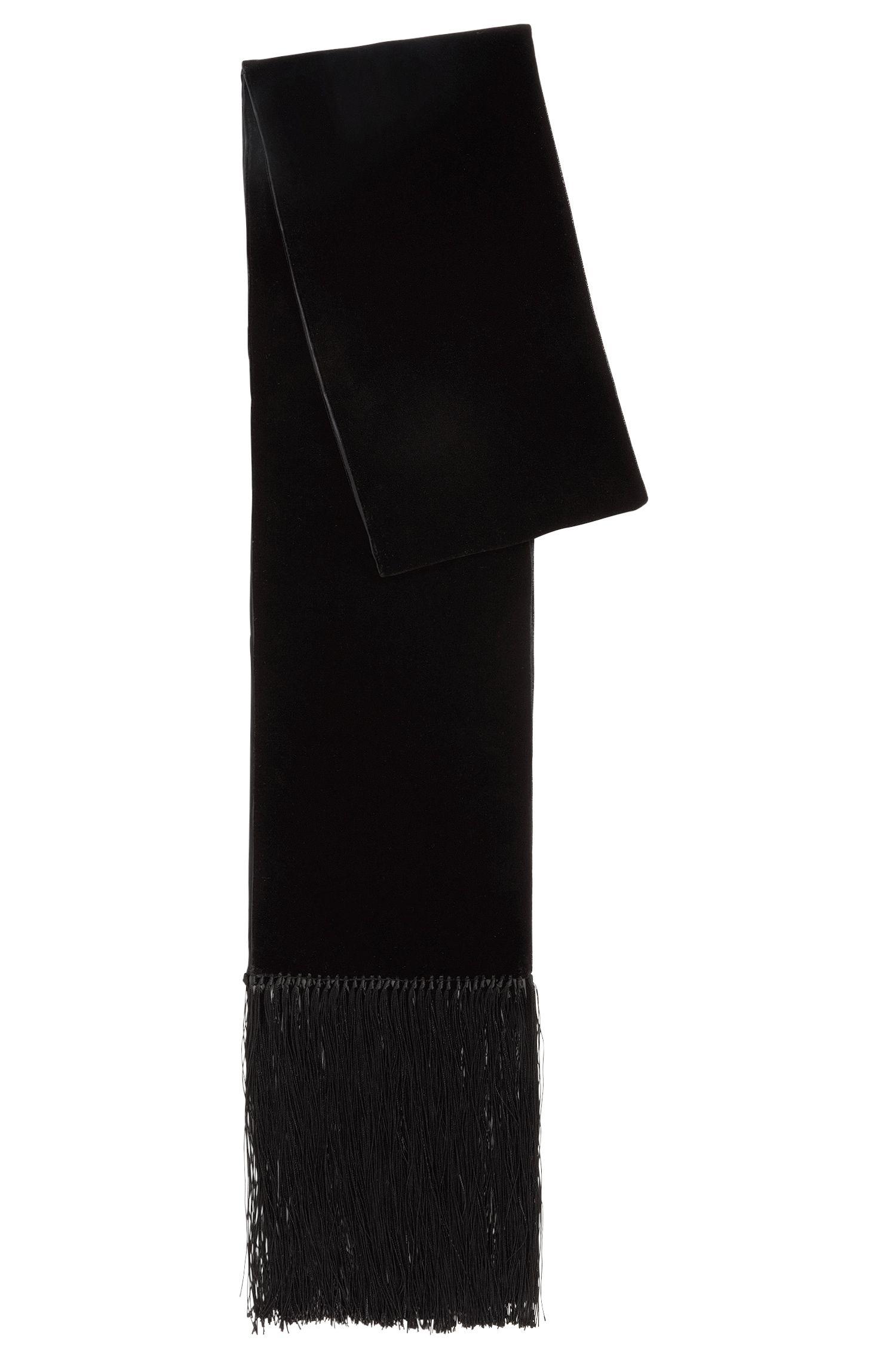 Sciarpa stretta in velluto e seta con frange extralunghe