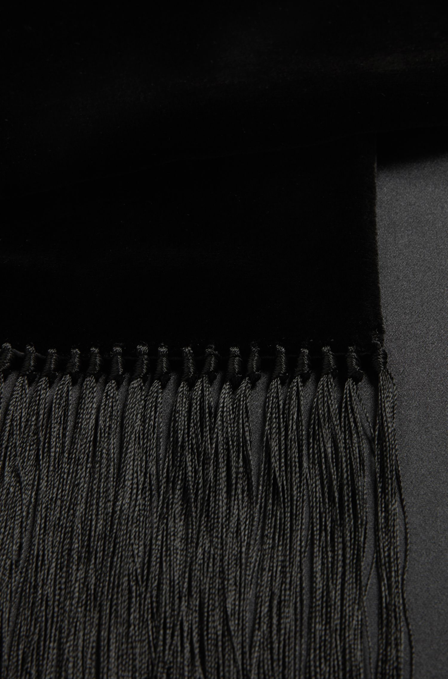 Skinny velvet and silk scarf with extra-long fringing