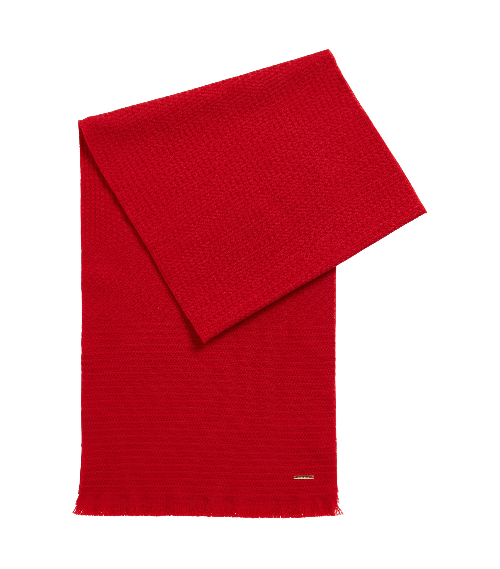 Monochrome scarf in structured wool, Red