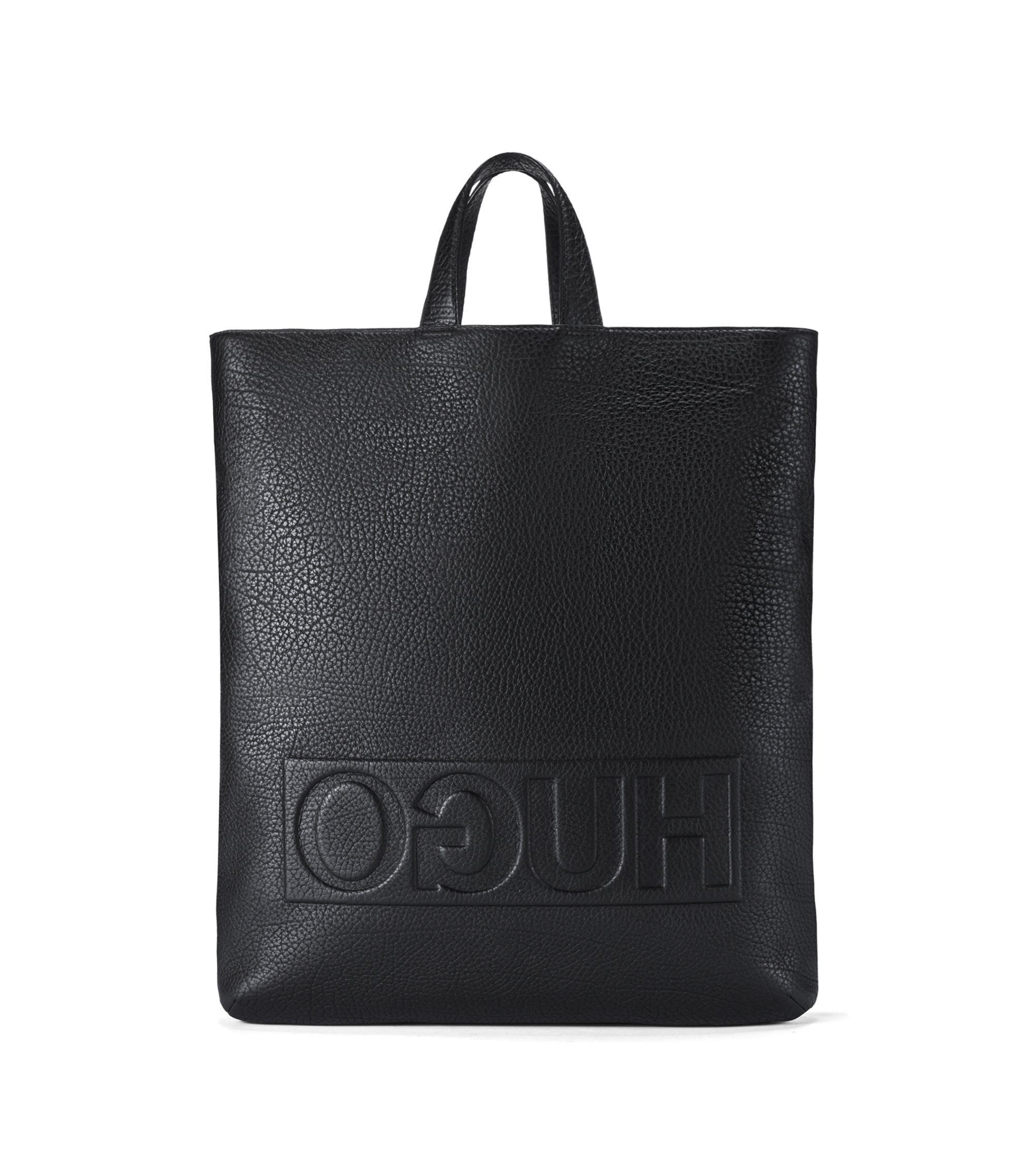 Reverse-logo tote backpack in grained Italian leather, Black