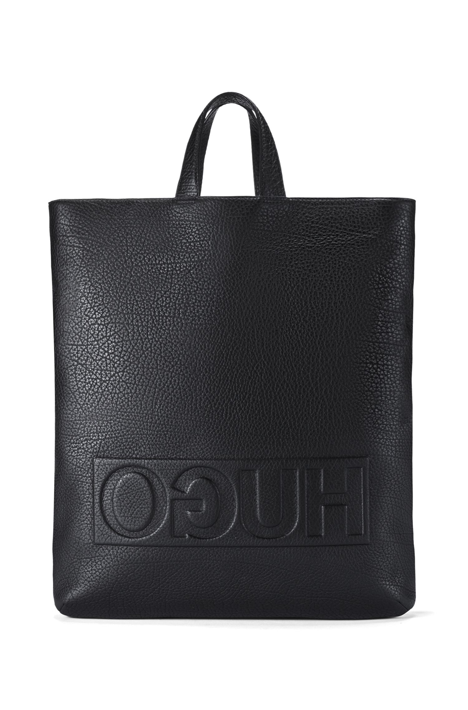 Reverse-logo tote backpack in grained Italian leather