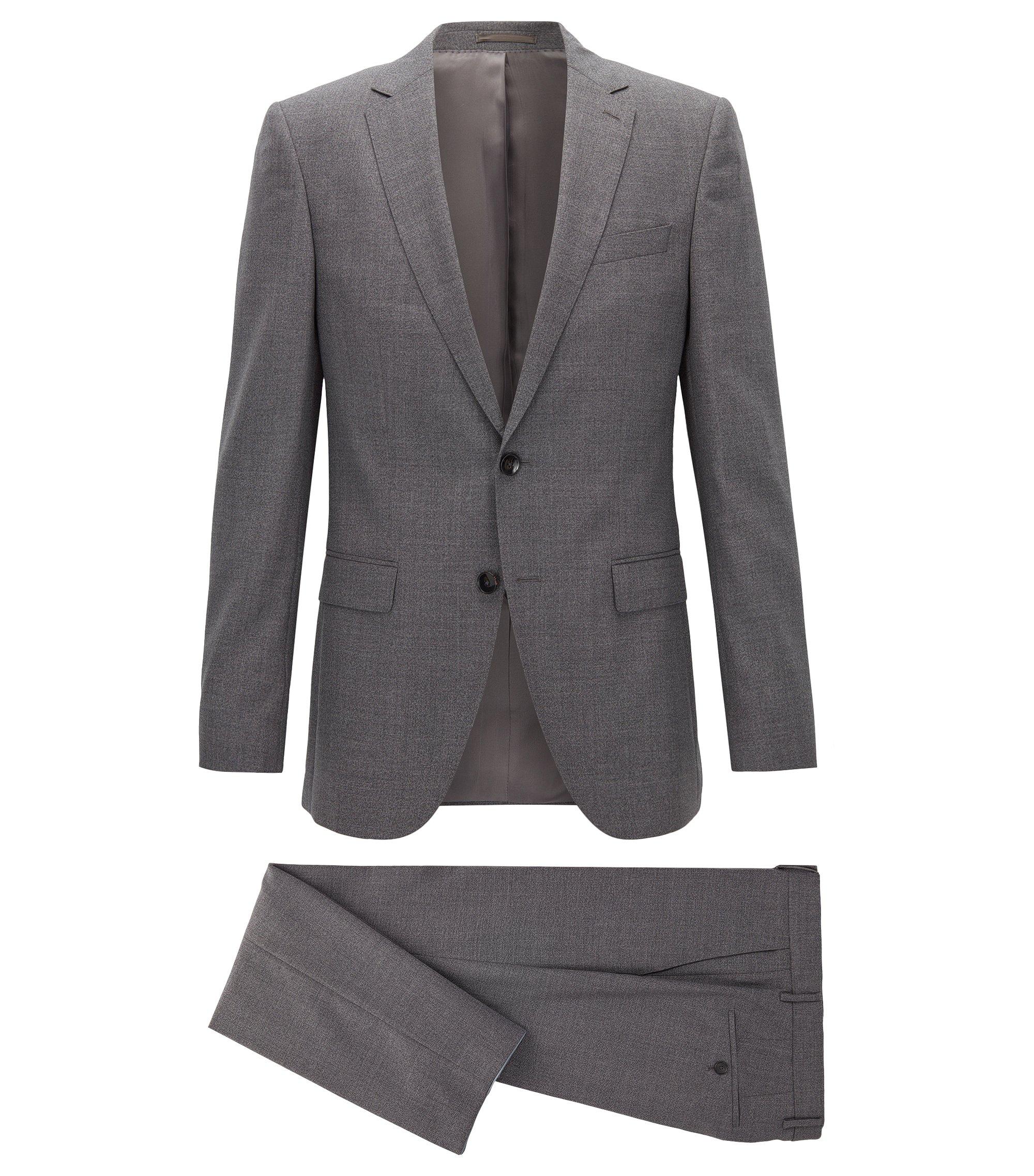 Melange virgin-wool suit in a slim fit , Grey